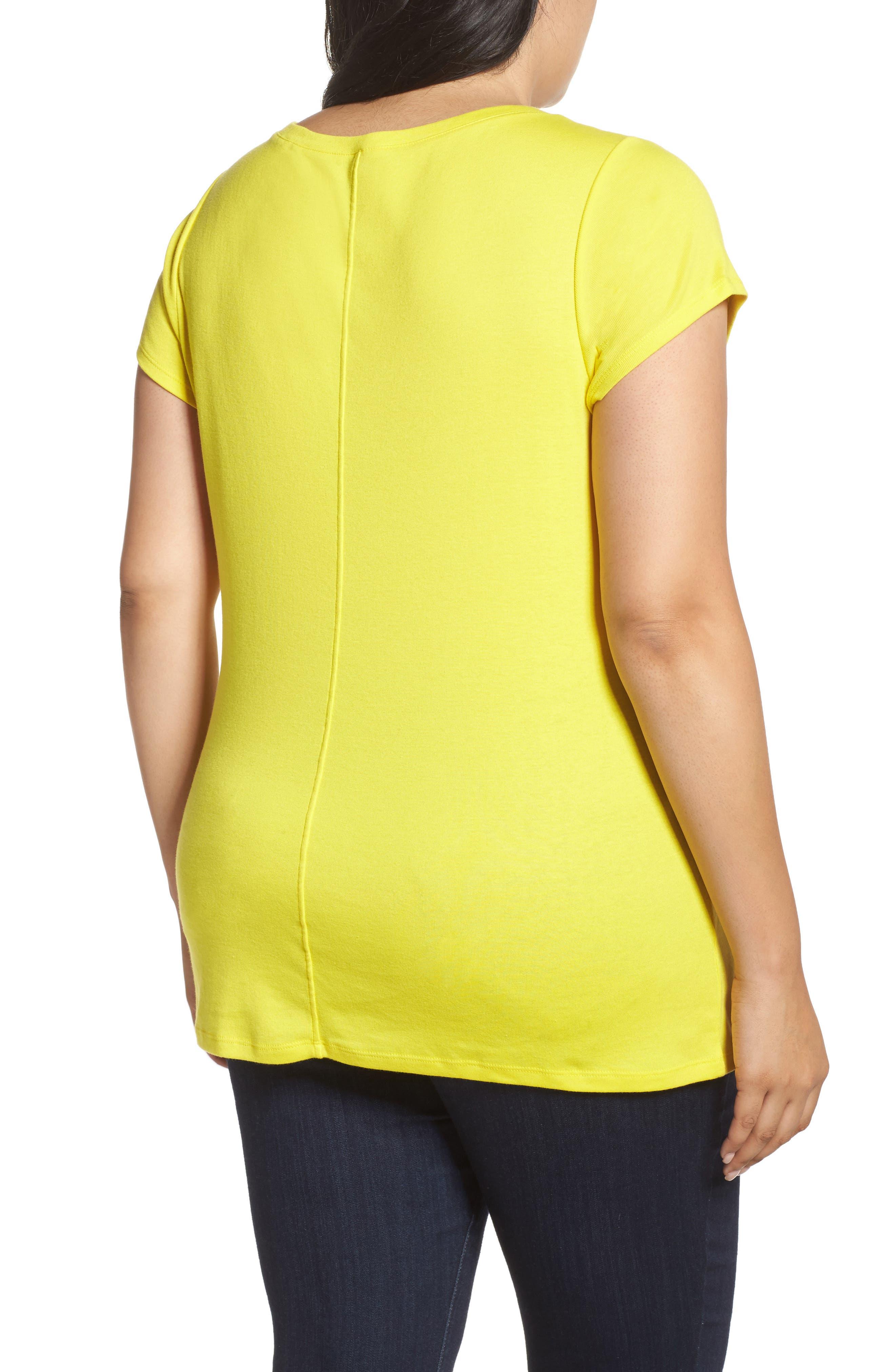 Cap Sleeve Ribbed Tee,                             Alternate thumbnail 2, color,                             Yellow Vibrant