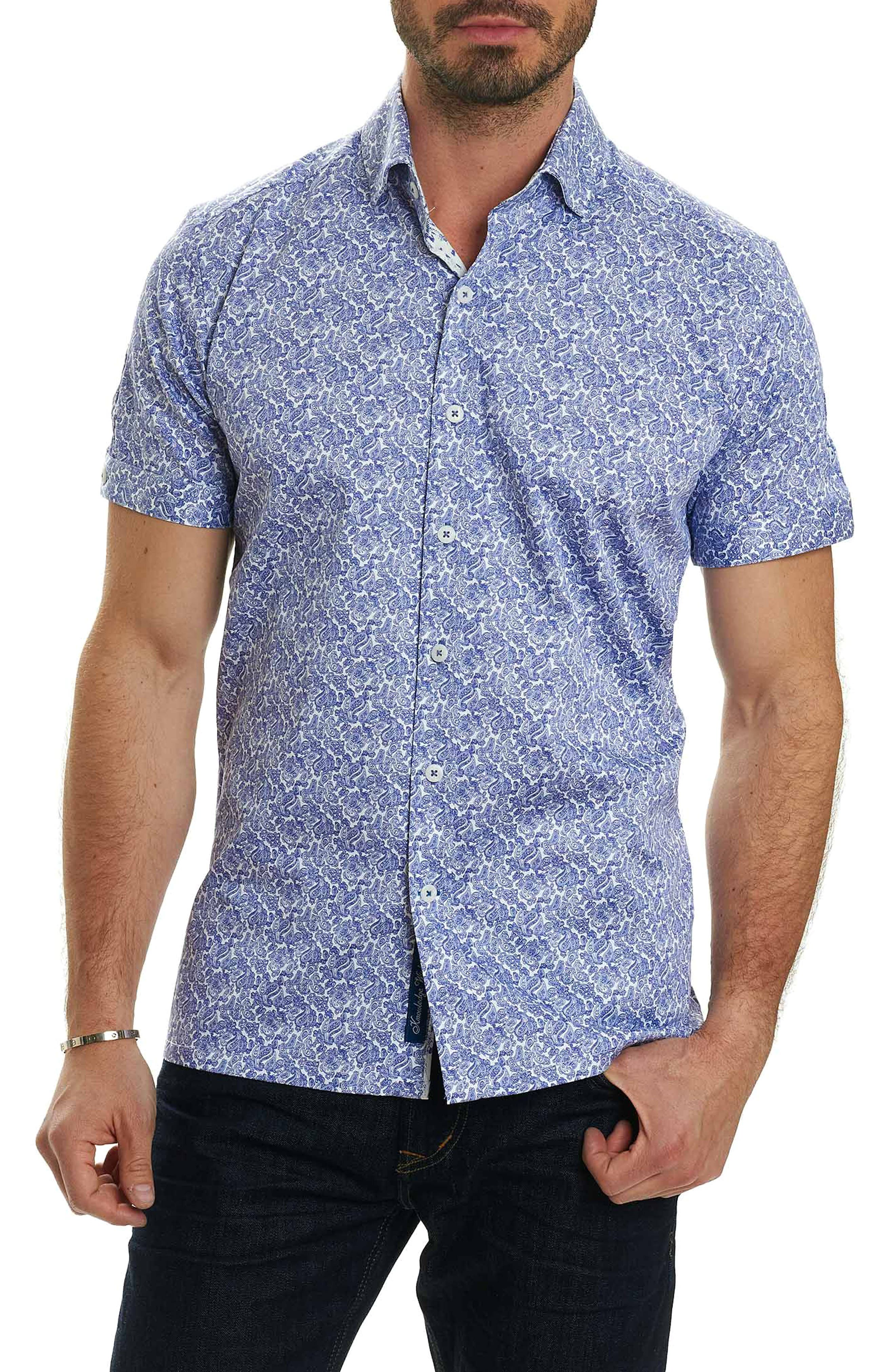 Thad Tailored Fit Paisley Sport Shirt,                             Main thumbnail 1, color,                             Purple