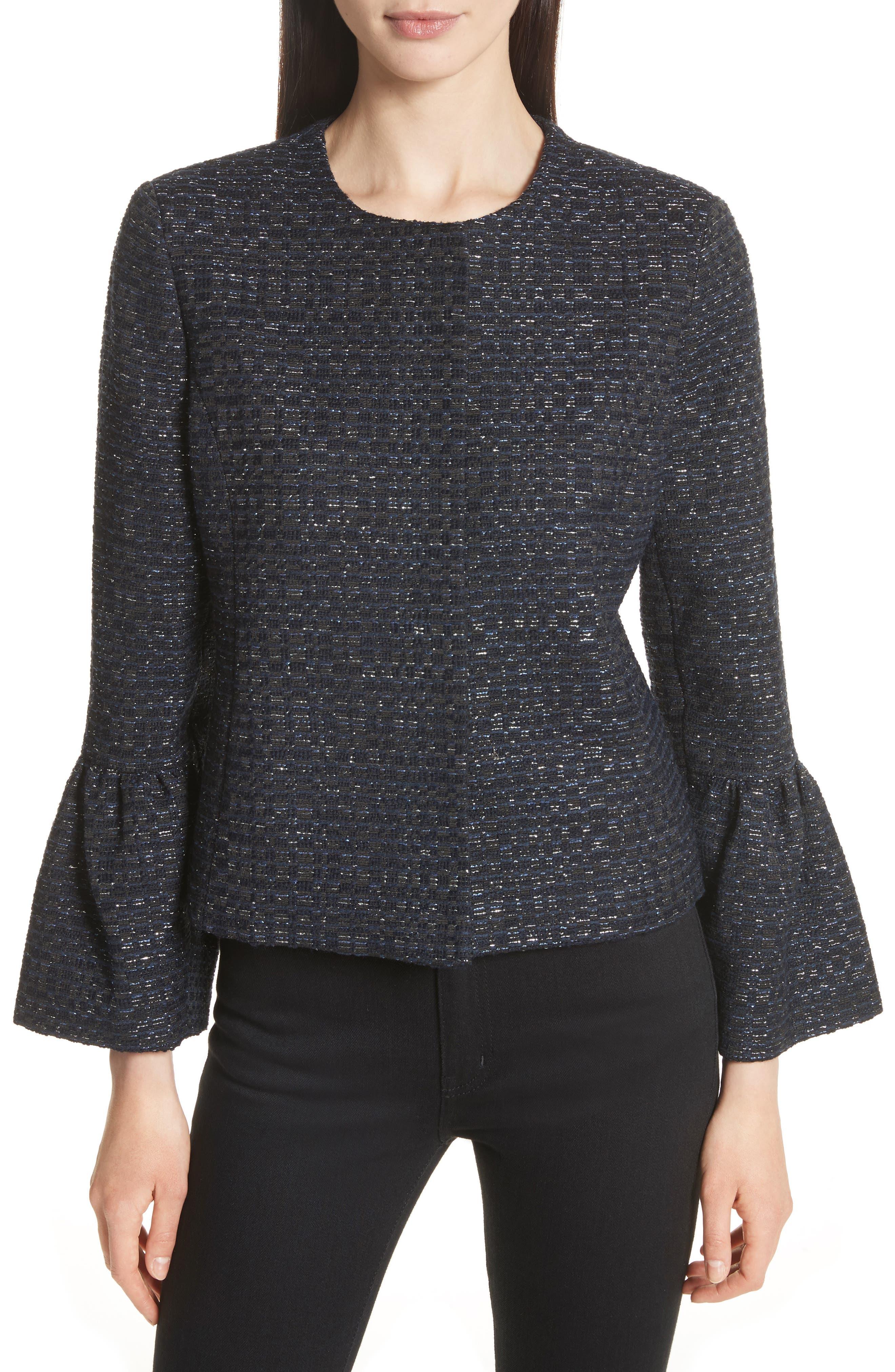 Zoe Bell Cuff Tweed Jacket,                         Main,                         color, Navy/ Silver