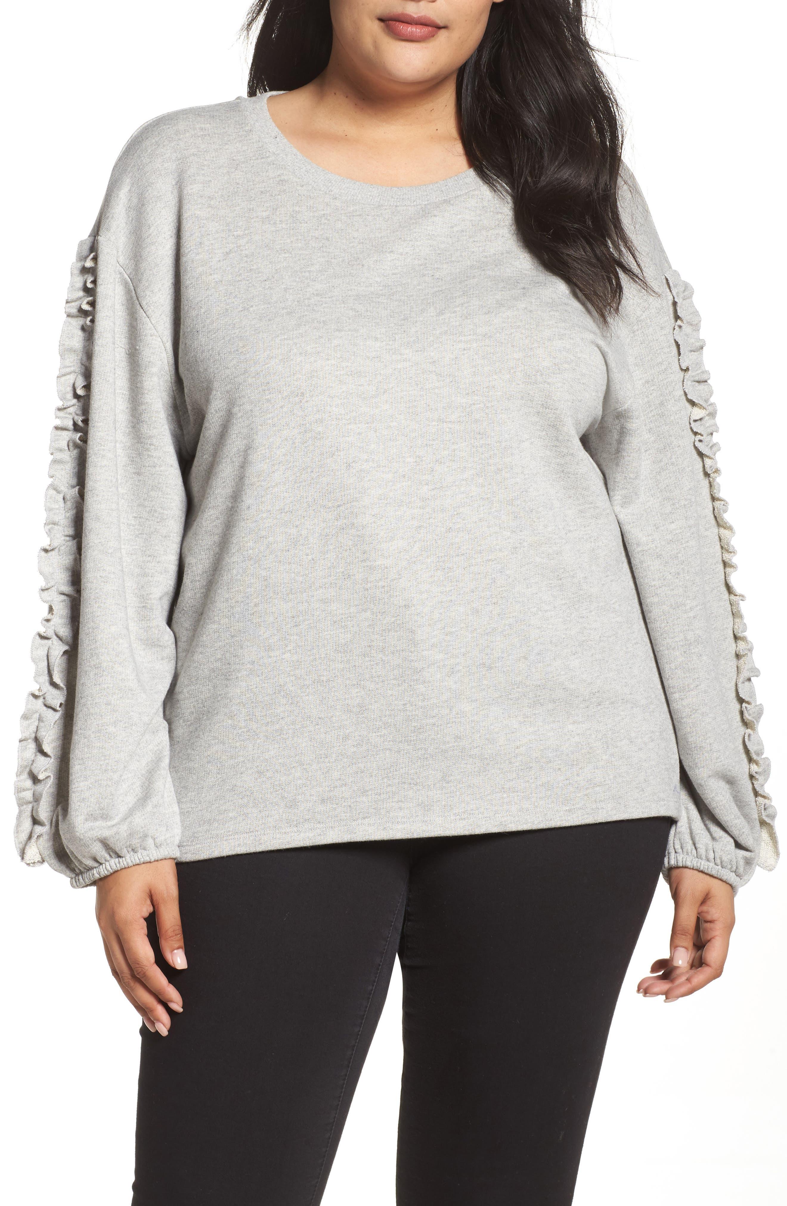 Ruffle Sleeve Sweatshirt,                         Main,                         color, Grey Heather