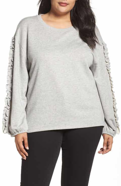Dantelle Ruffle Sleeve Sweatshirt (Plus Size)