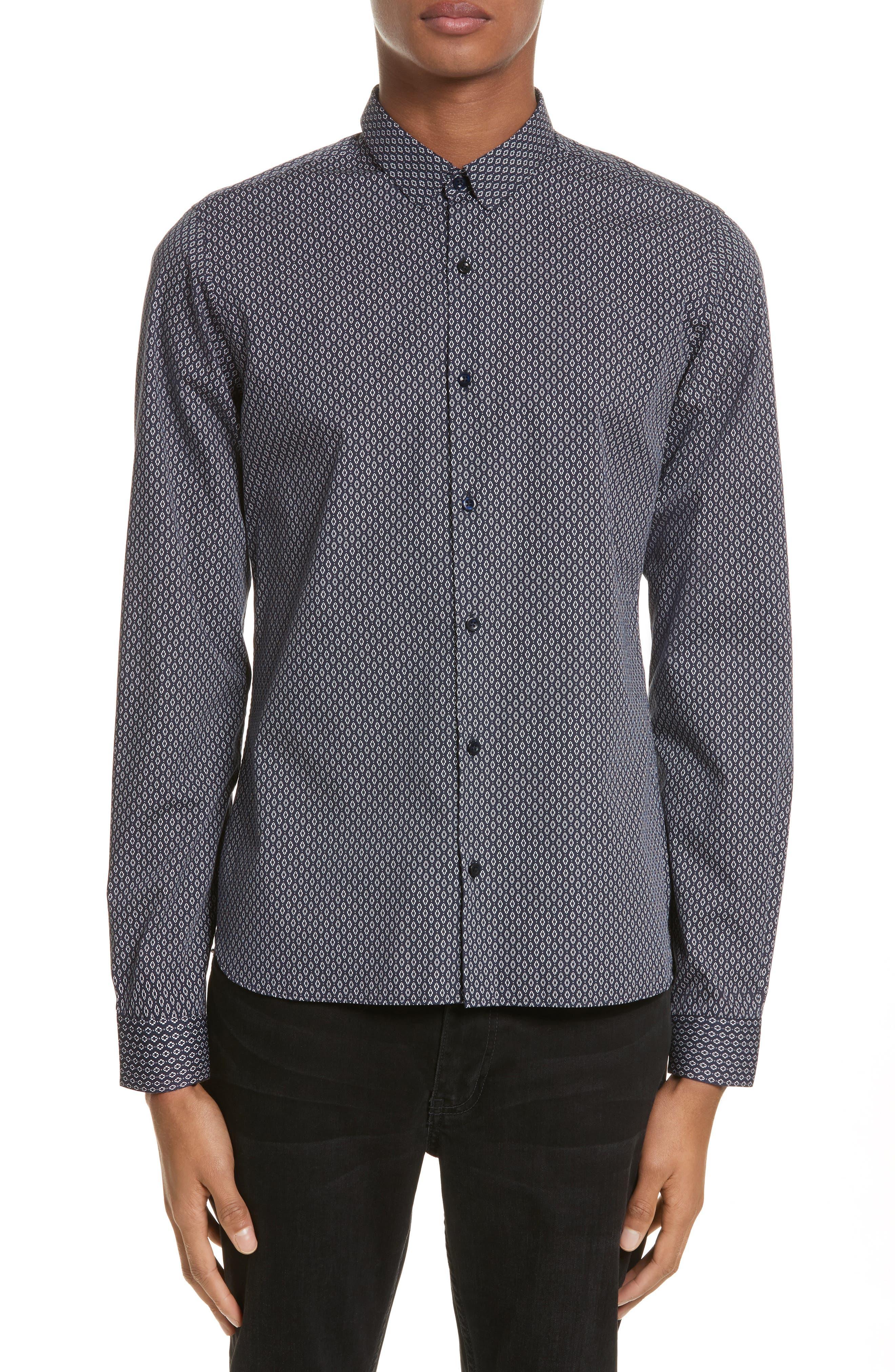 Diamond Print Shirt,                         Main,                         color, Navy