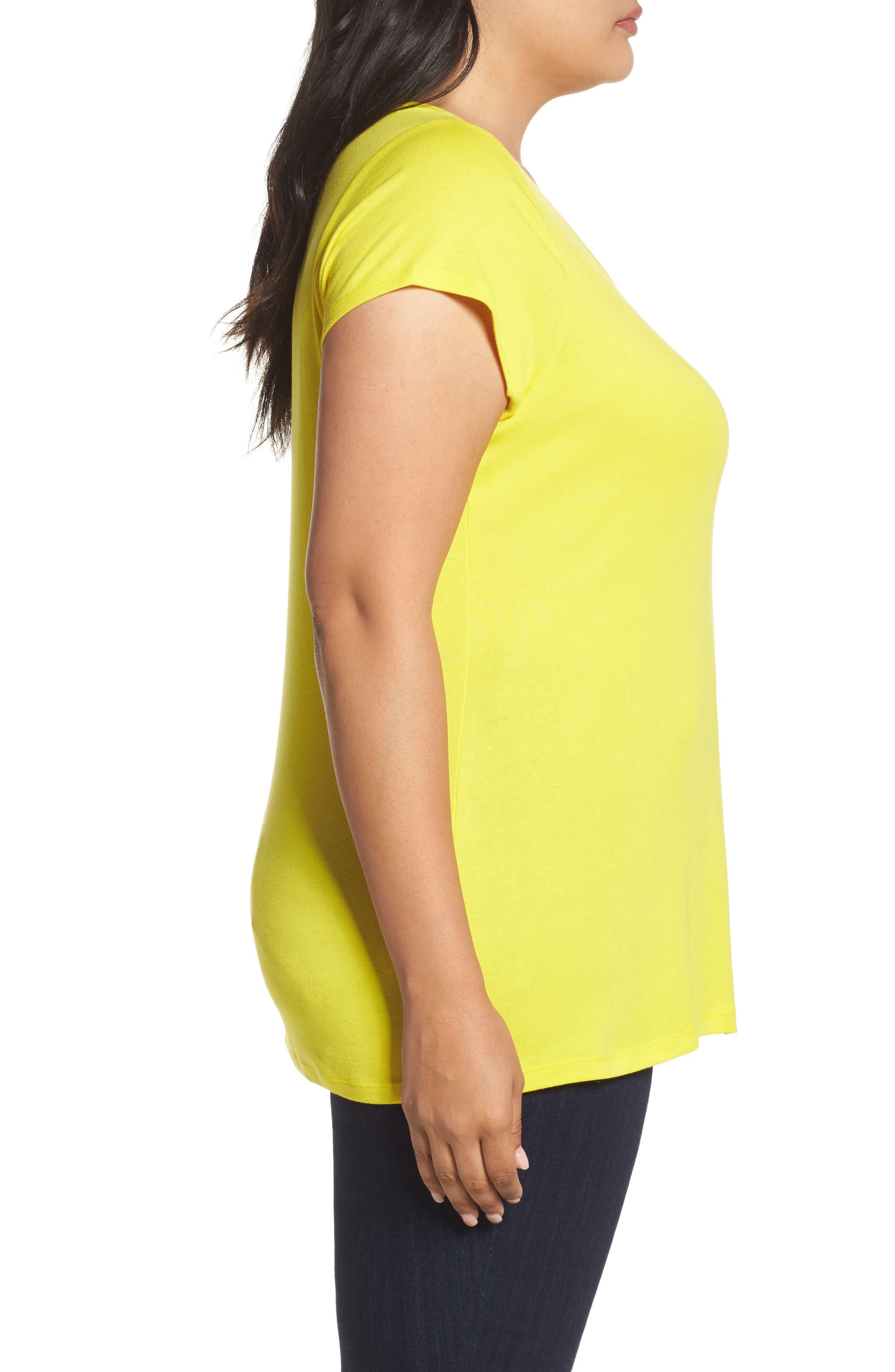 Cap Sleeve Ribbed Tee,                             Alternate thumbnail 3, color,                             Yellow Vibrant