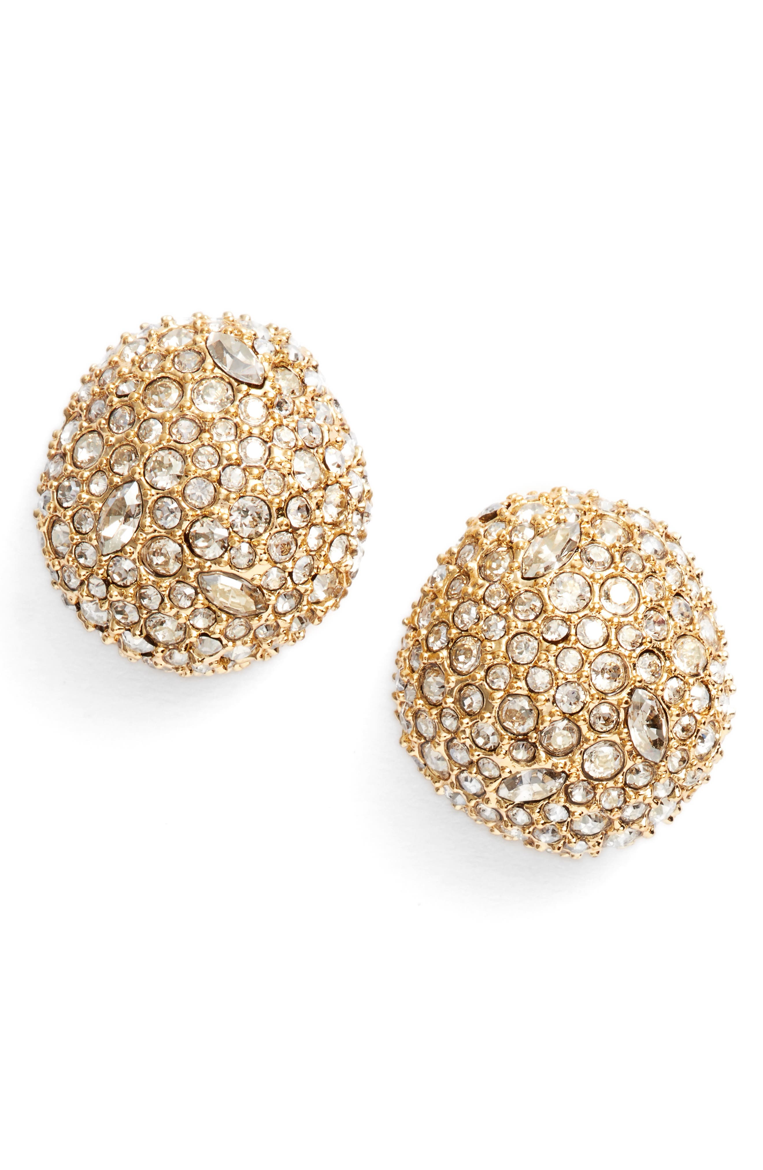 Crystal Encrusted Stud Earrings,                         Main,                         color, Gold