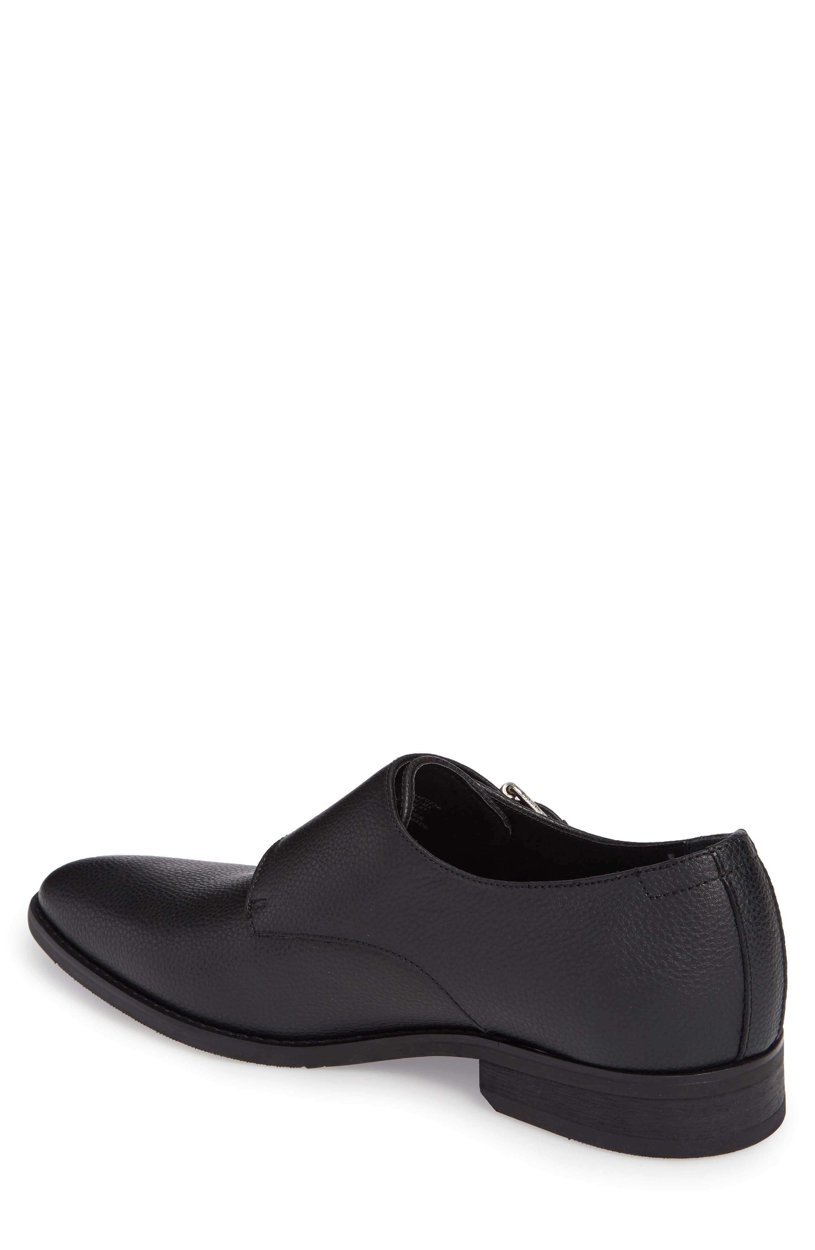 Robbie Double Monk Strap Shoe,                             Alternate thumbnail 2, color,                             Black Leather