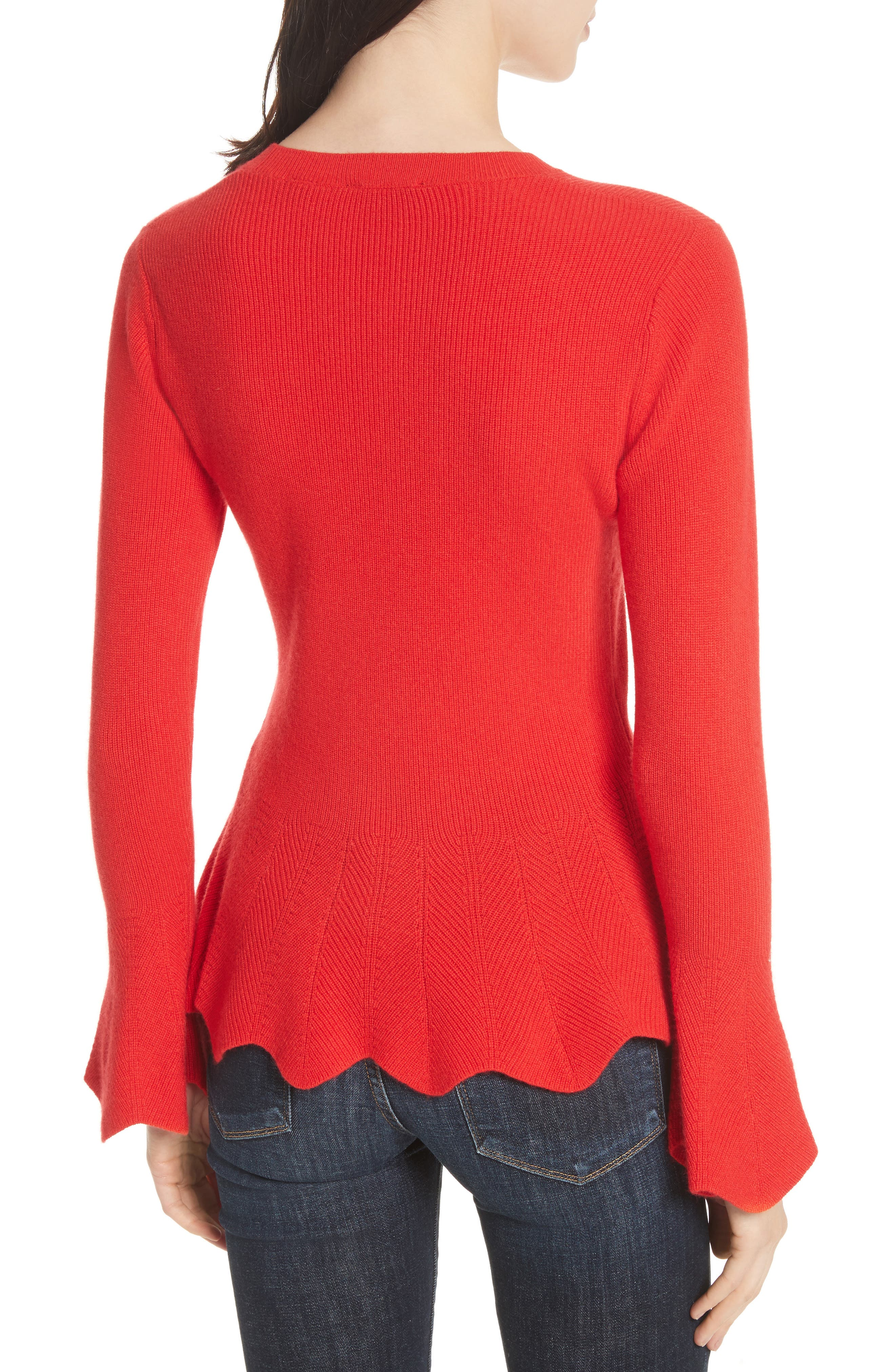 Peplum Sweater,                             Alternate thumbnail 2, color,                             Bright Red