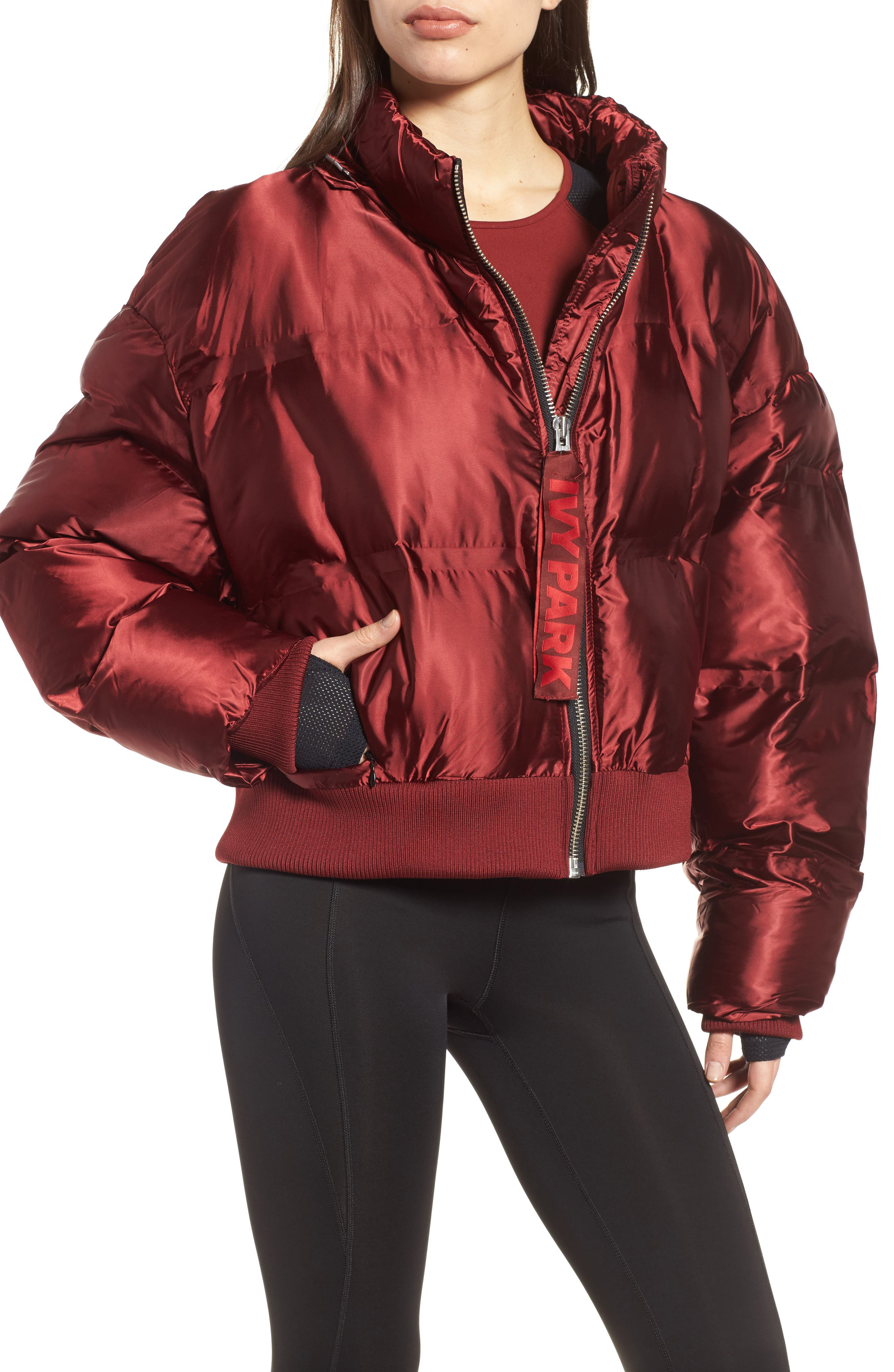 Crop Hooded Puffer Jacket,                             Alternate thumbnail 4, color,                             Russet