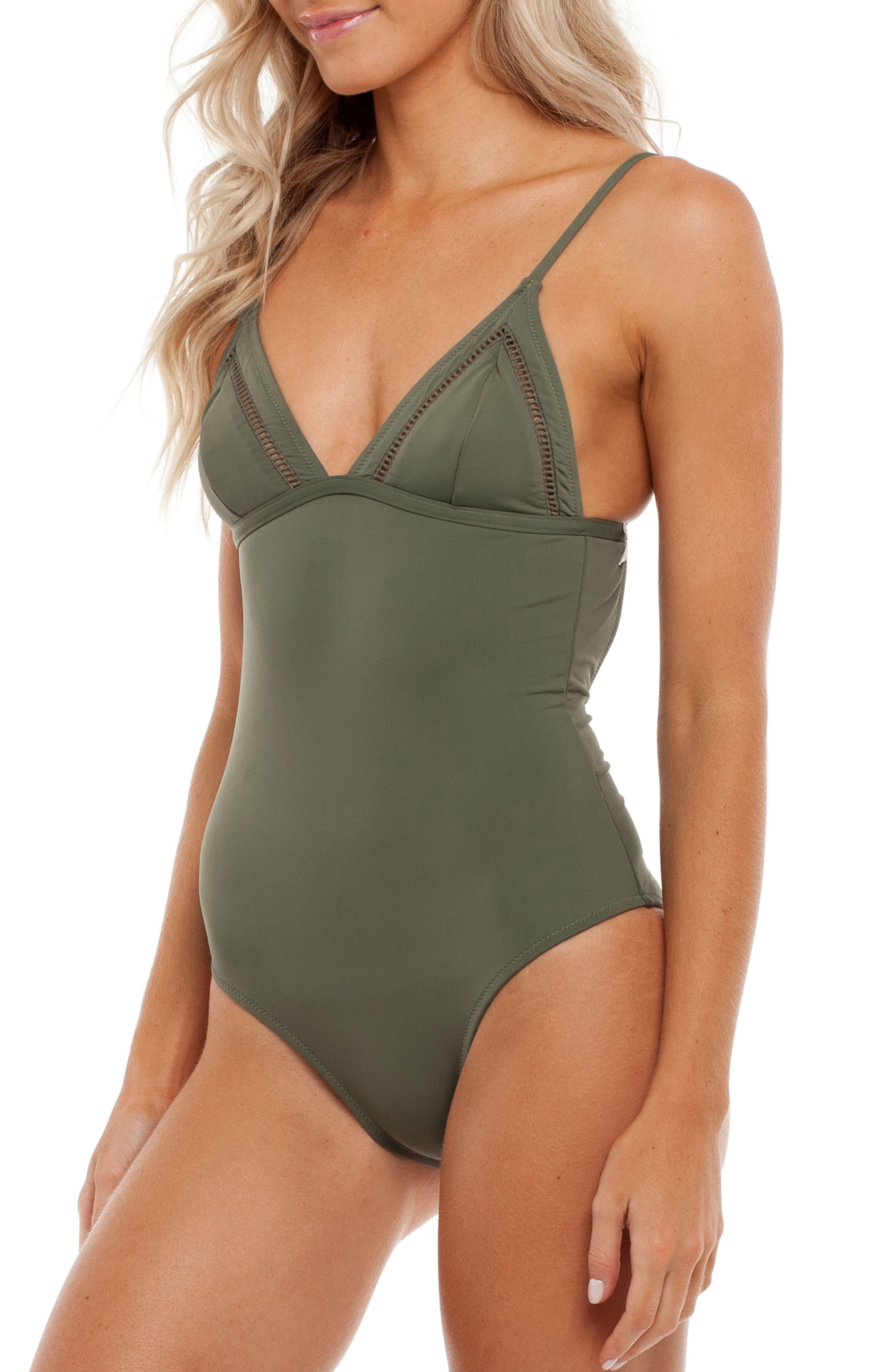 My Bralette One-Piece Swimsuit,                             Alternate thumbnail 3, color,                             Seaweed