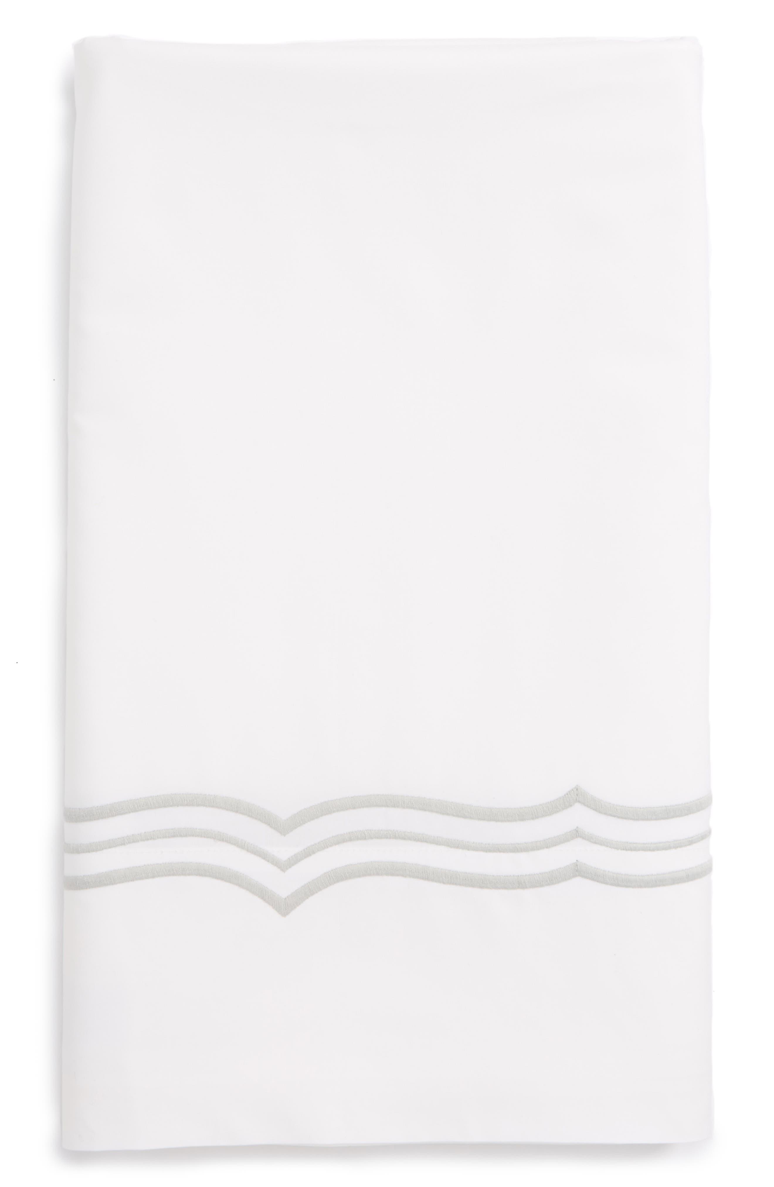 Paola 520 Thread Count Flat Sheet,                             Main thumbnail 1, color,                             Silver