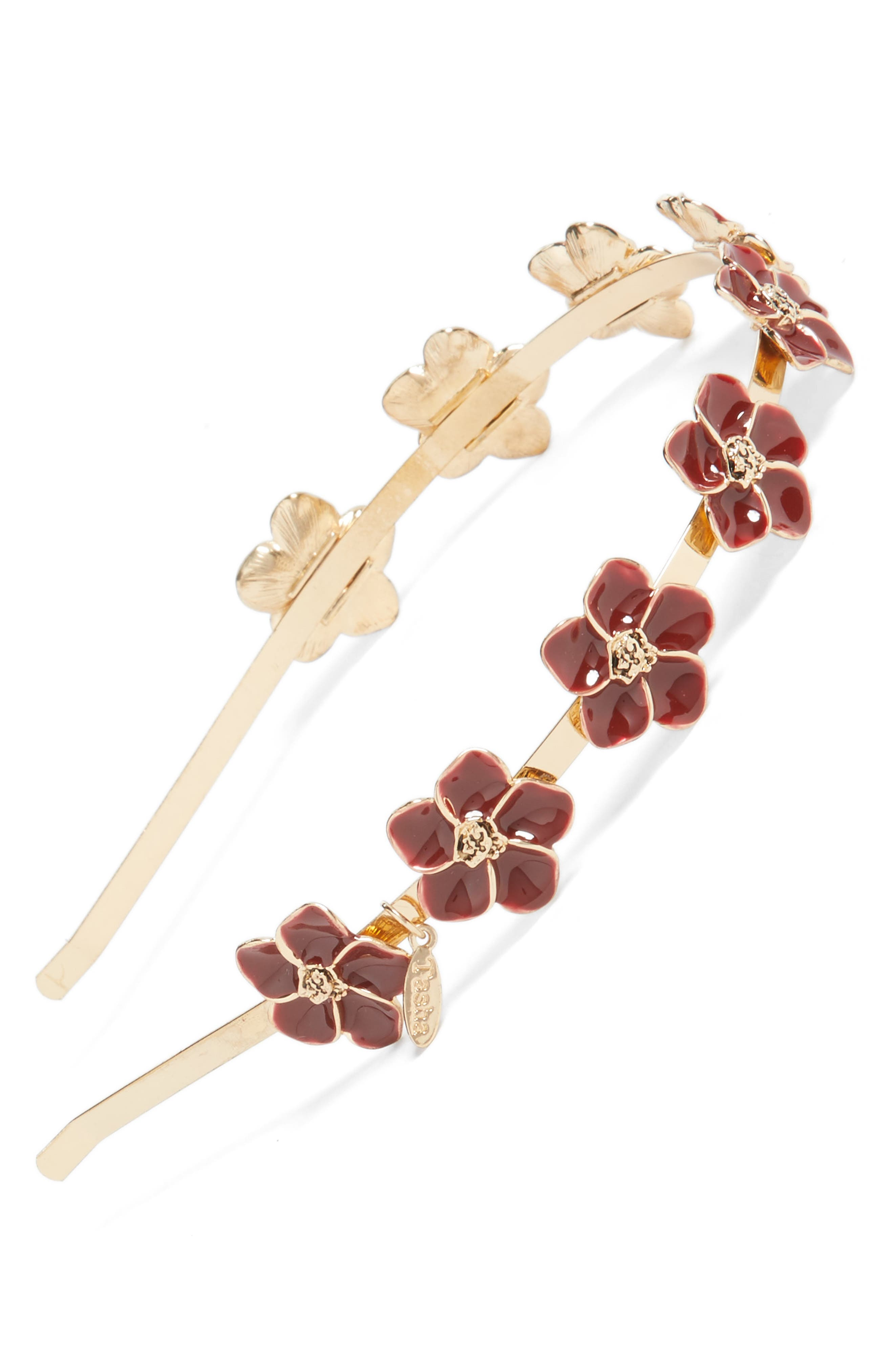 Enamel Floral Headband,                             Main thumbnail 1, color,                             Gold/ Red