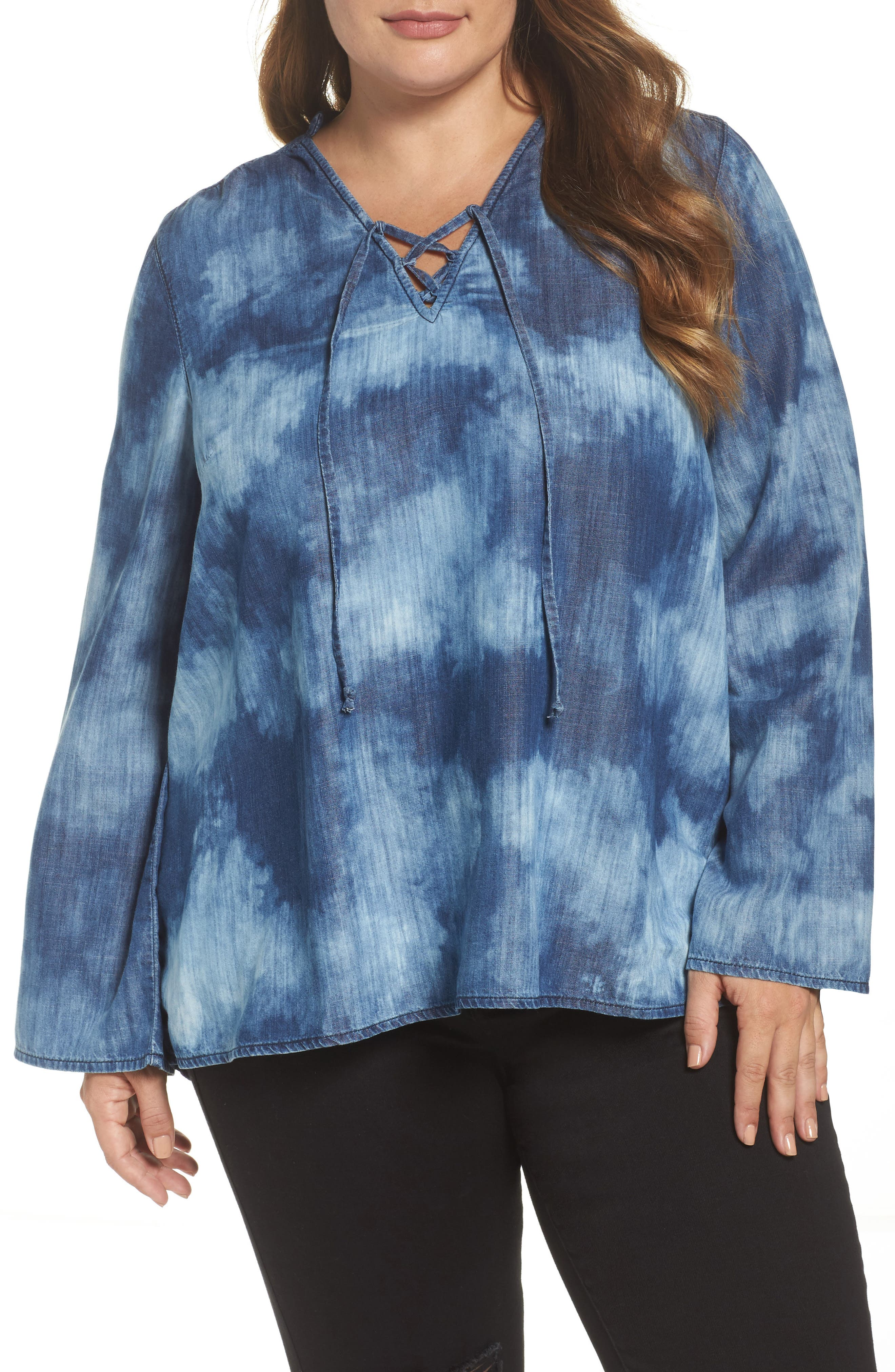 Alternate Image 1 Selected - Melissa McCarthy Seven7 Bell Sleeve Top (Plus Size)