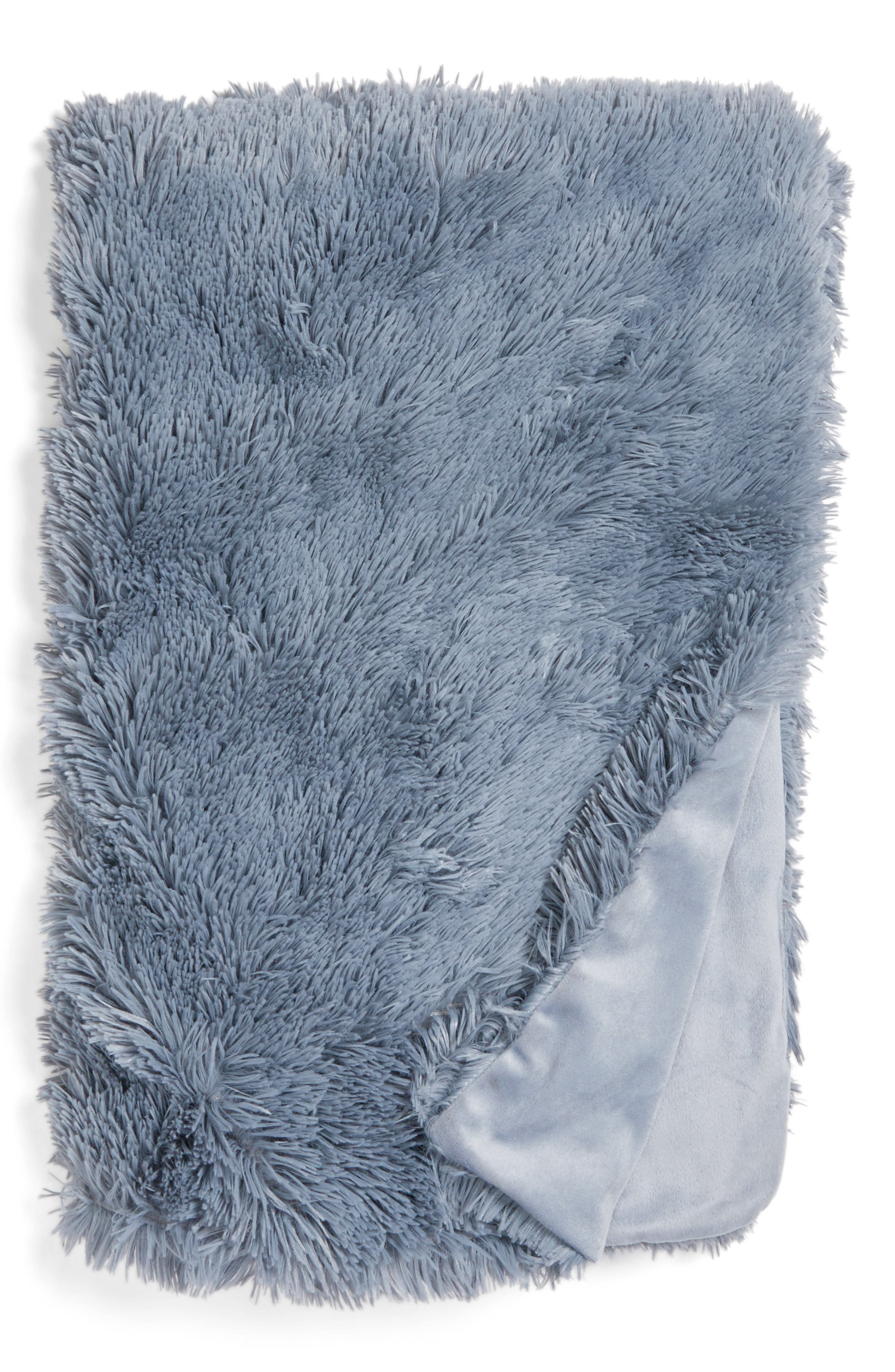 Feather Faux Fur Throw,                         Main,                         color, Blue Tradewinds