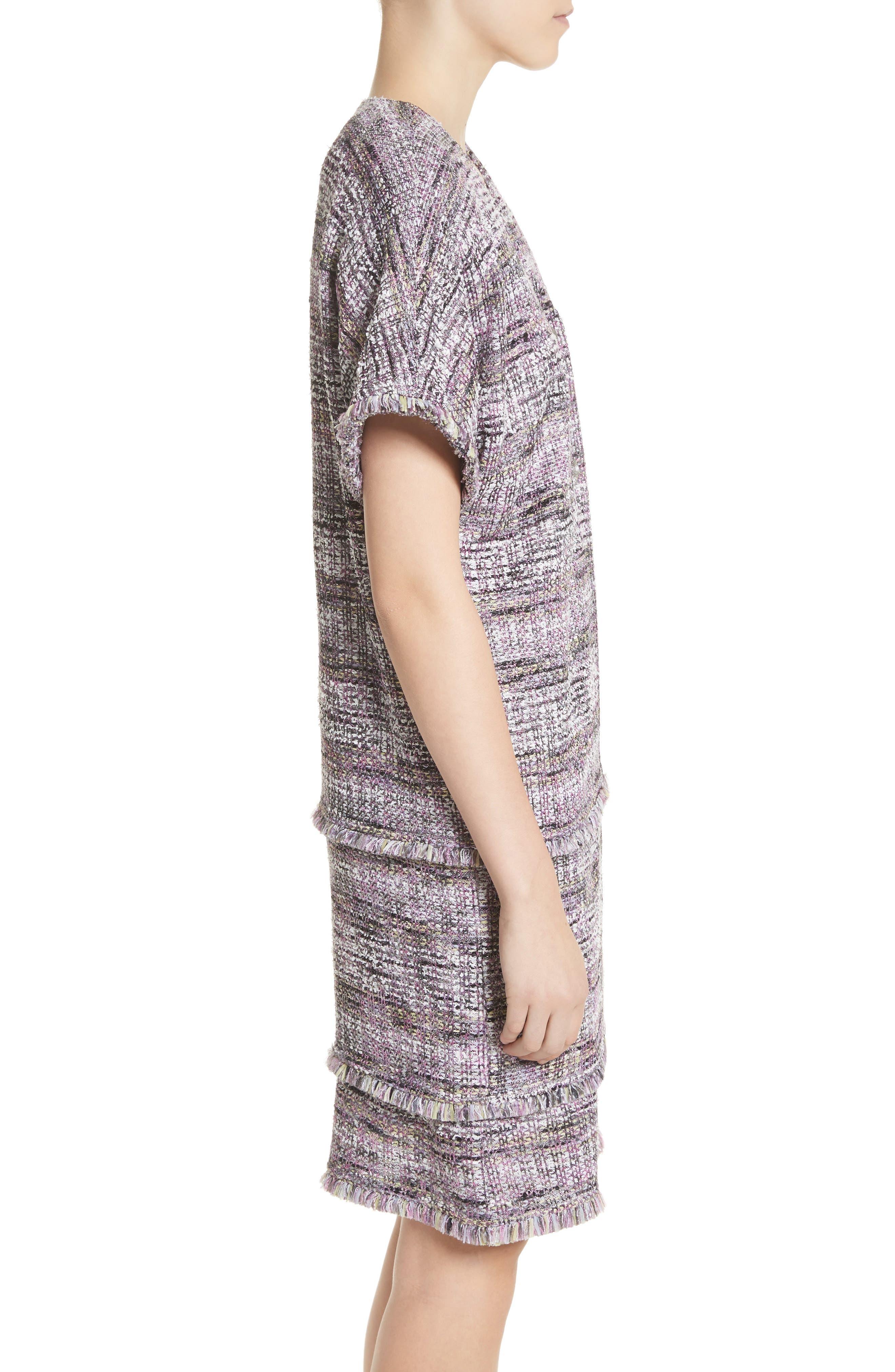 Anna Stripe Tweed Dolman Jacket,                             Alternate thumbnail 3, color,                             Orchid Multi