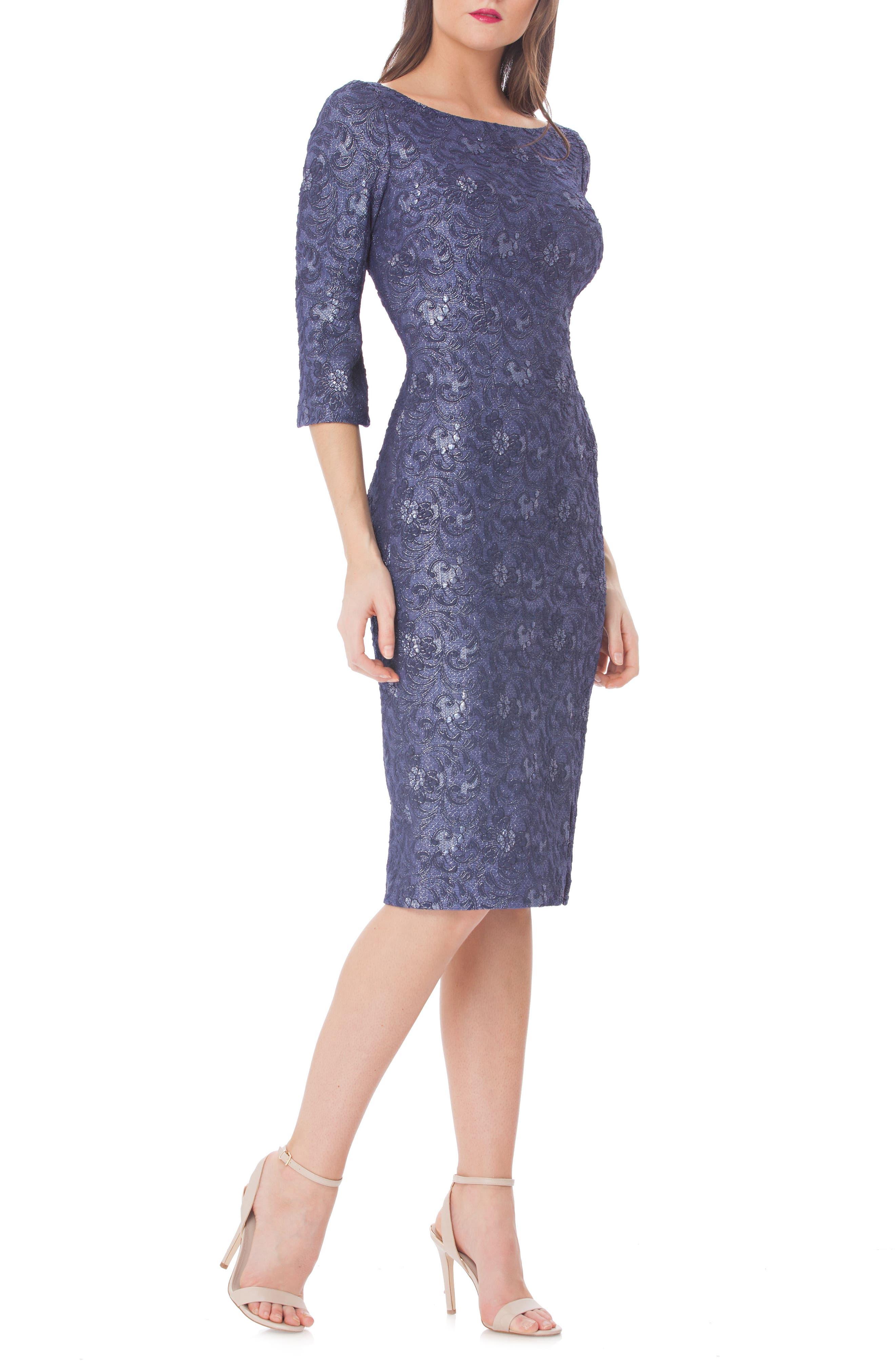 Bell Sleeve Matelassé Sheath Dress,                         Main,                         color, Navy