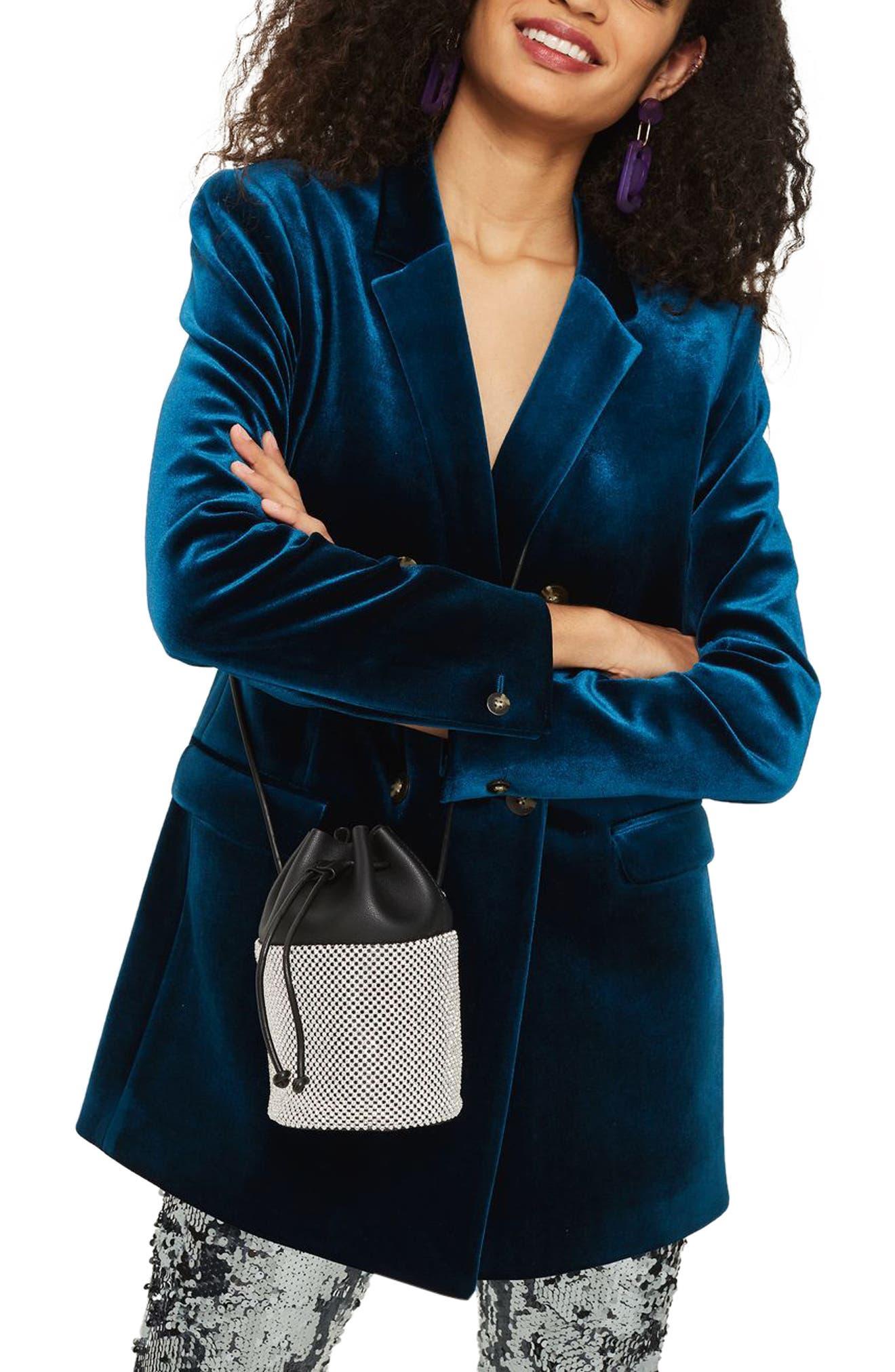 Alternate Image 2  - Topshop Ruben Diamante Faux Leather Bucket Crossbody Bag
