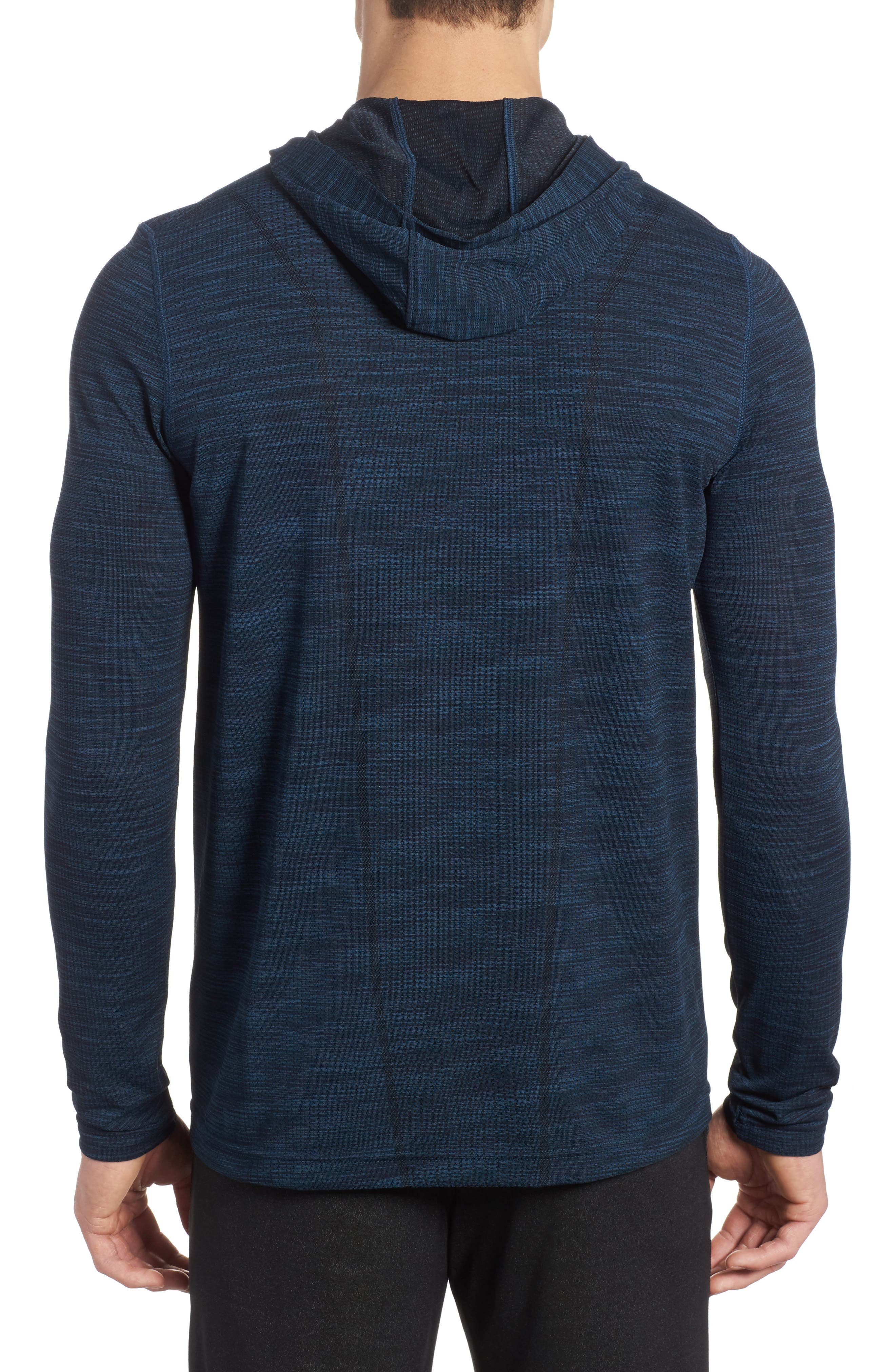 Threadbone Fitted Seamless Hoodie,                             Alternate thumbnail 2, color,                             True Ink/ Anthracite