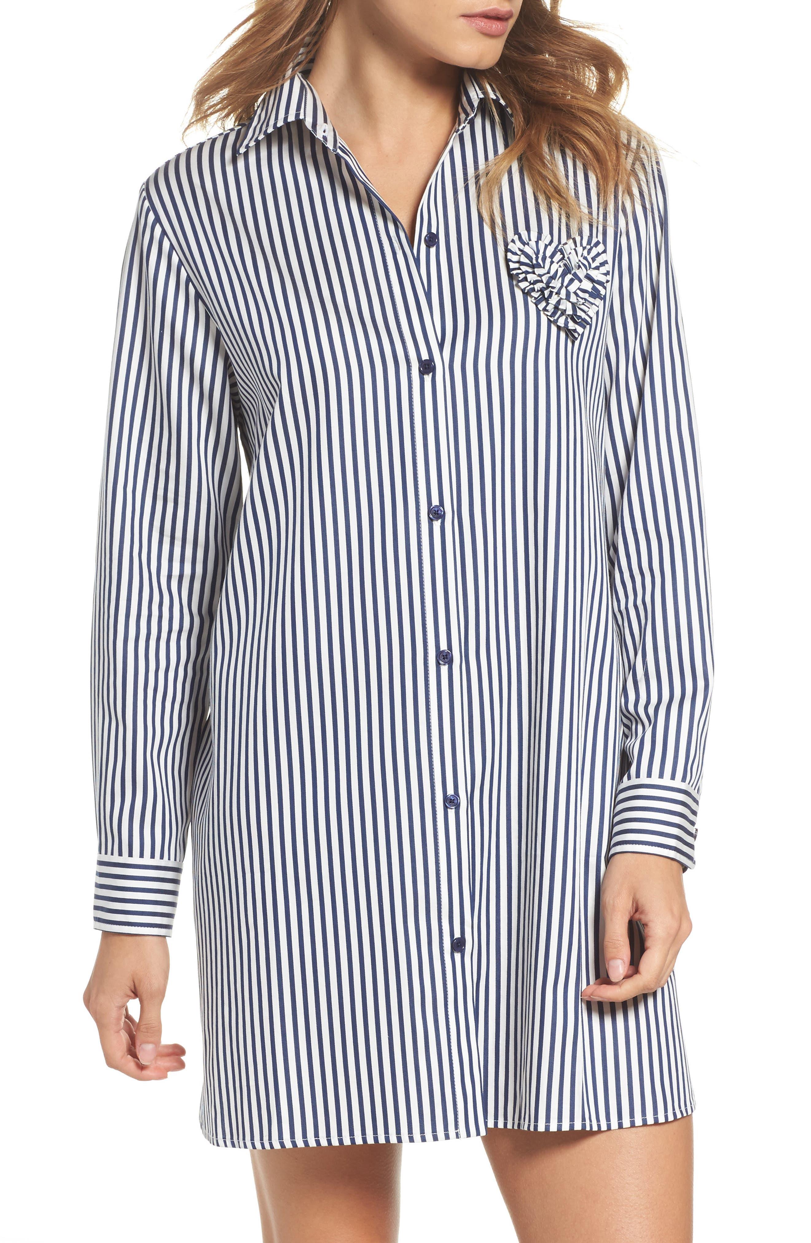 stripe sleep shirt,                         Main,                         color, Navy Stripe