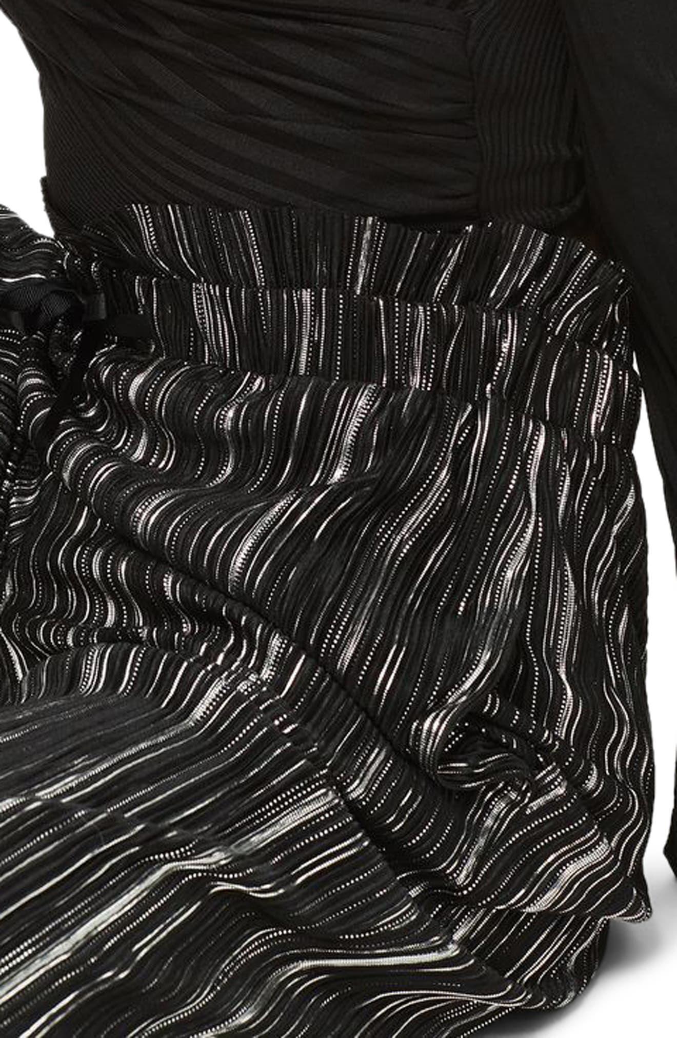 Metallic Plissé Pants,                             Alternate thumbnail 3, color,                             Black Multi