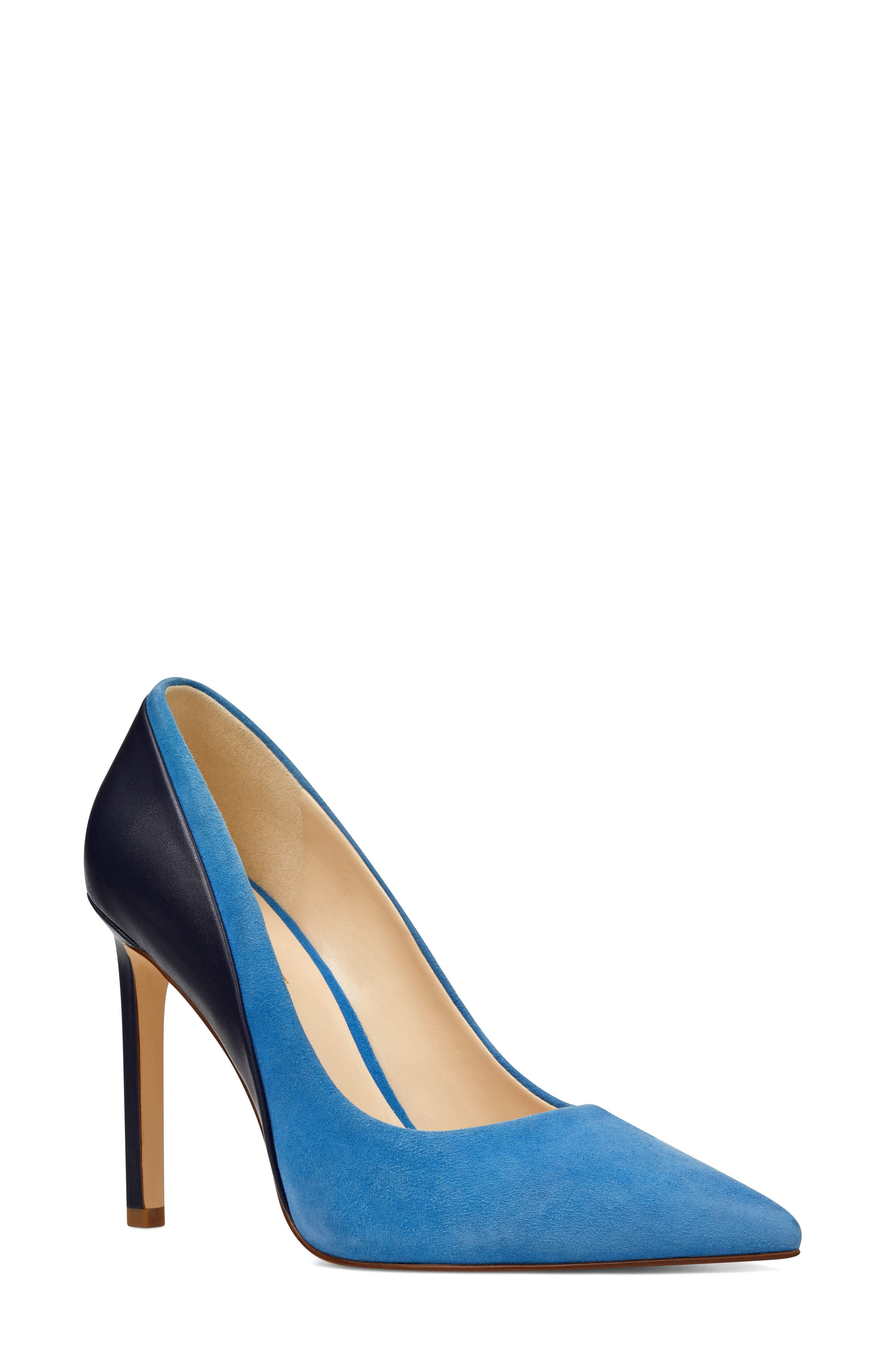 Taymra Pointy Toe Pump,                             Main thumbnail 1, color,                             Blue/ Navy Suede
