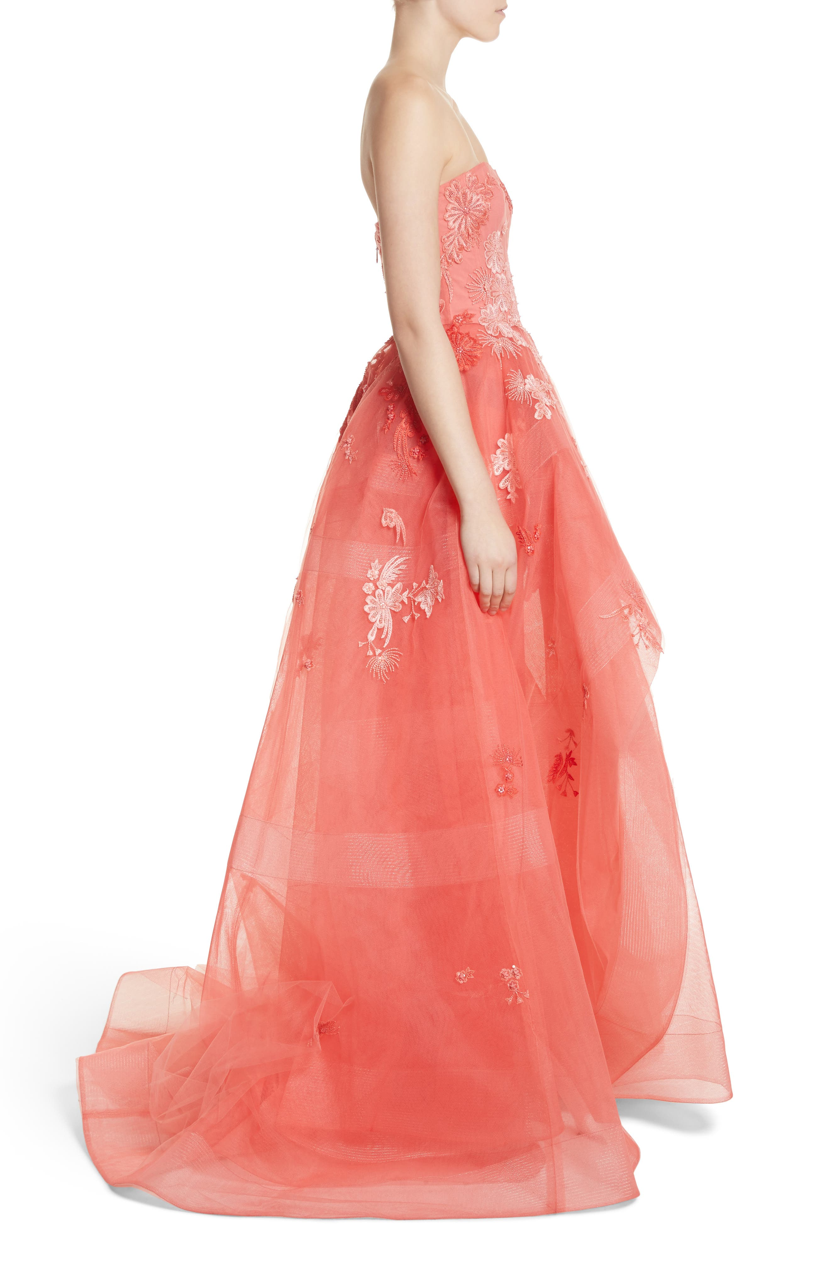 Embroidered Strapless Ballgown,                             Alternate thumbnail 3, color,                             Coral