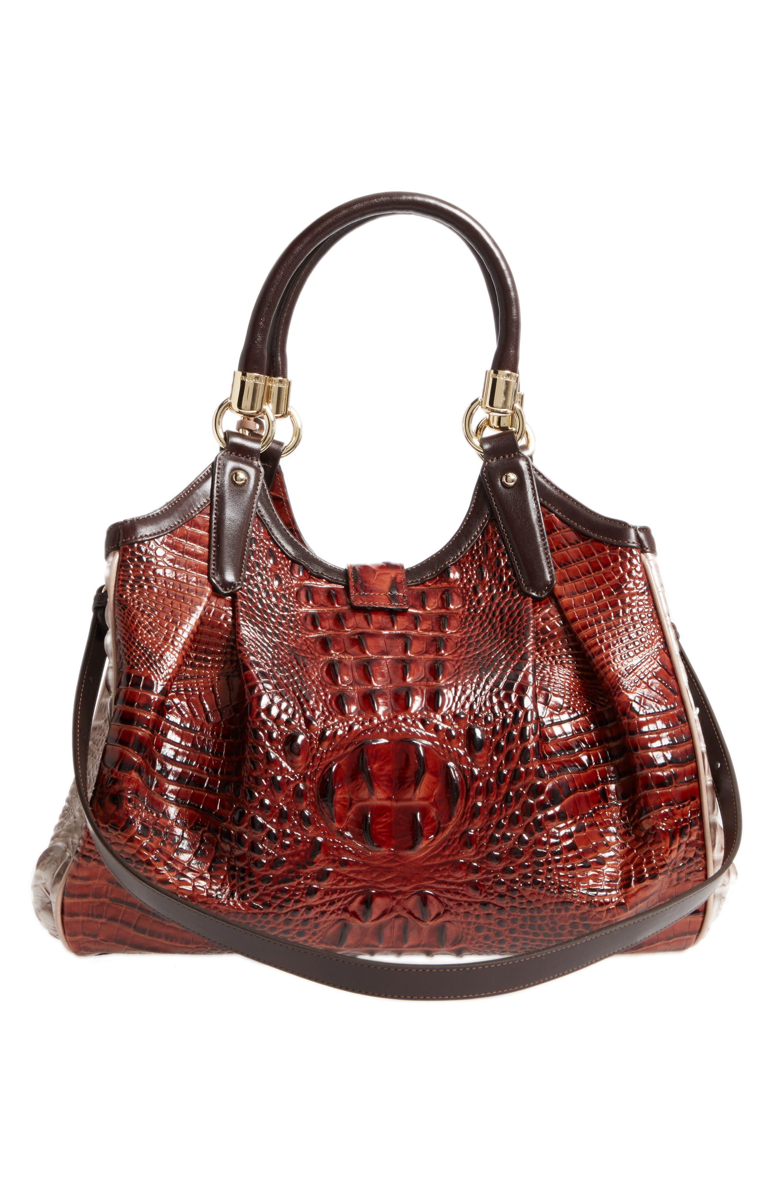 Elisa Croc Embossed Leather Shoulder Bag,                             Alternate thumbnail 3, color,                             Pecan