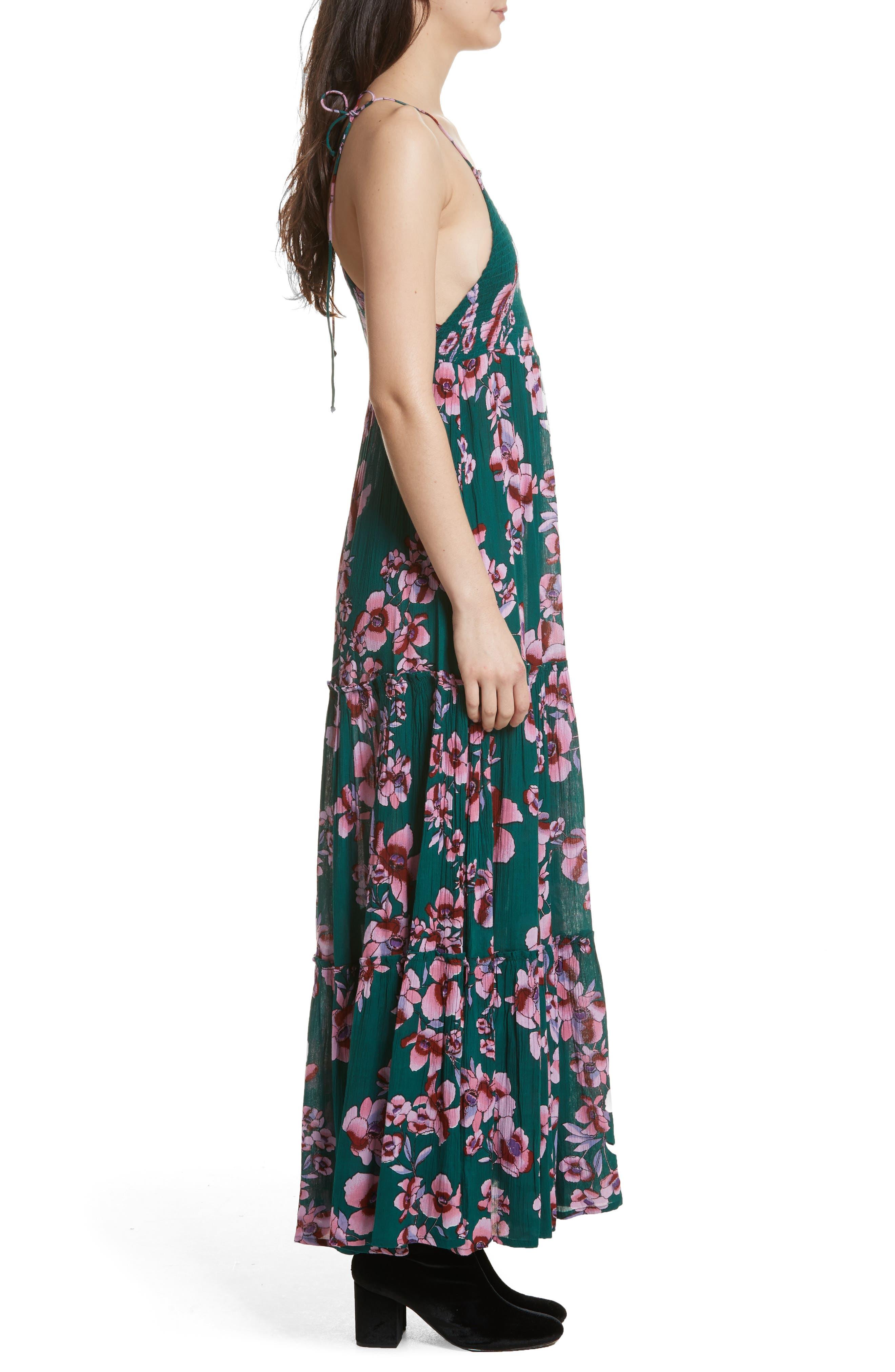 Garden Party Maxi Dress,                             Alternate thumbnail 3, color,                             Turquoise
