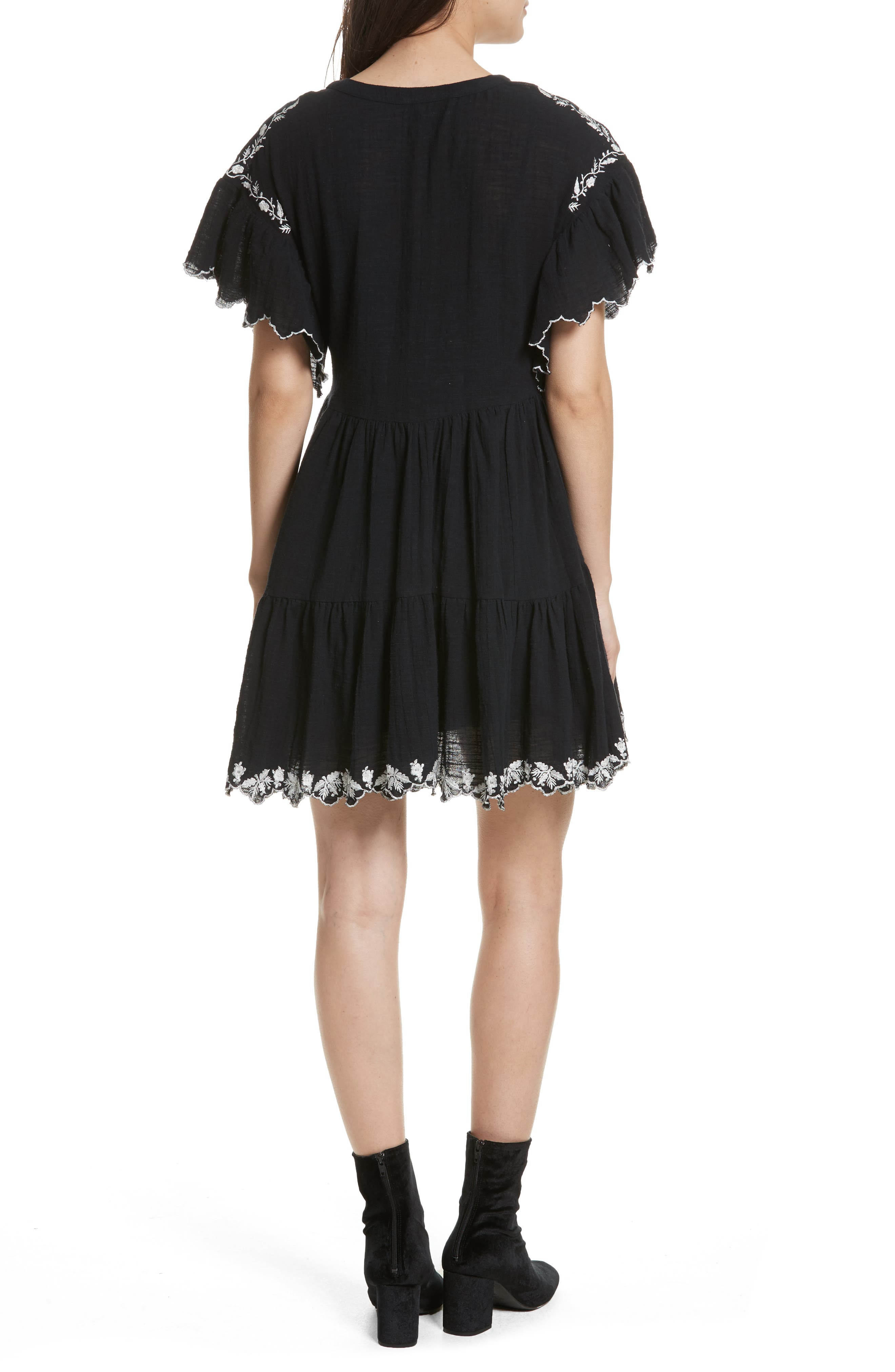 Santiago Embroidered Minidress,                             Alternate thumbnail 2, color,                             Black