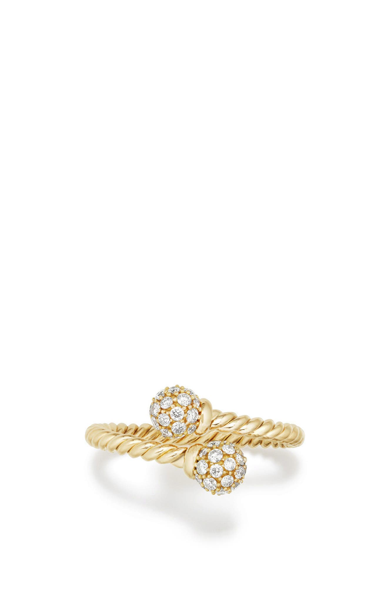 David Yurman Petite Solari Bypass Ring with Diamonds in 18K Gold