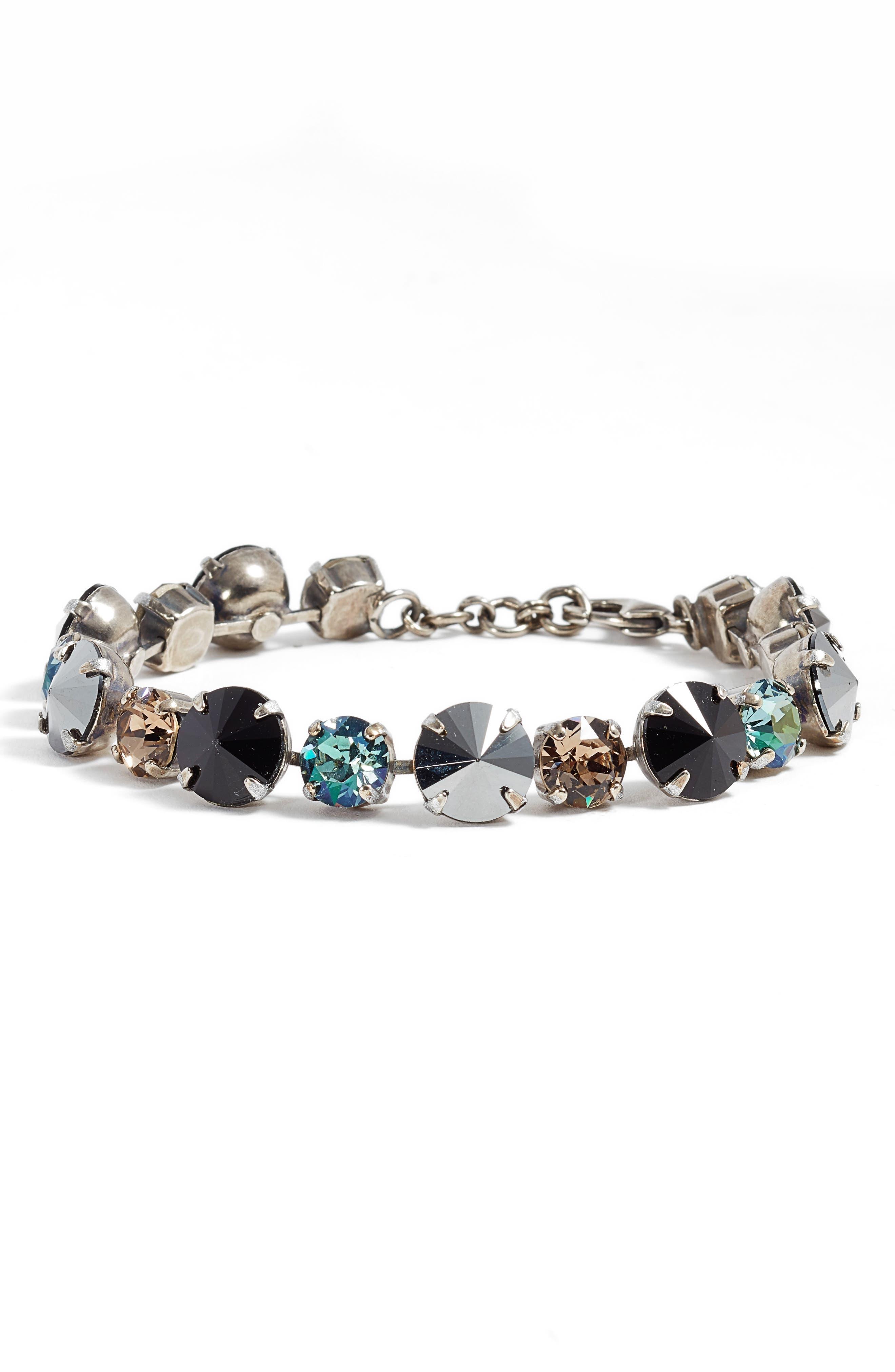 Crystal Line Bracelet,                         Main,                         color, Black