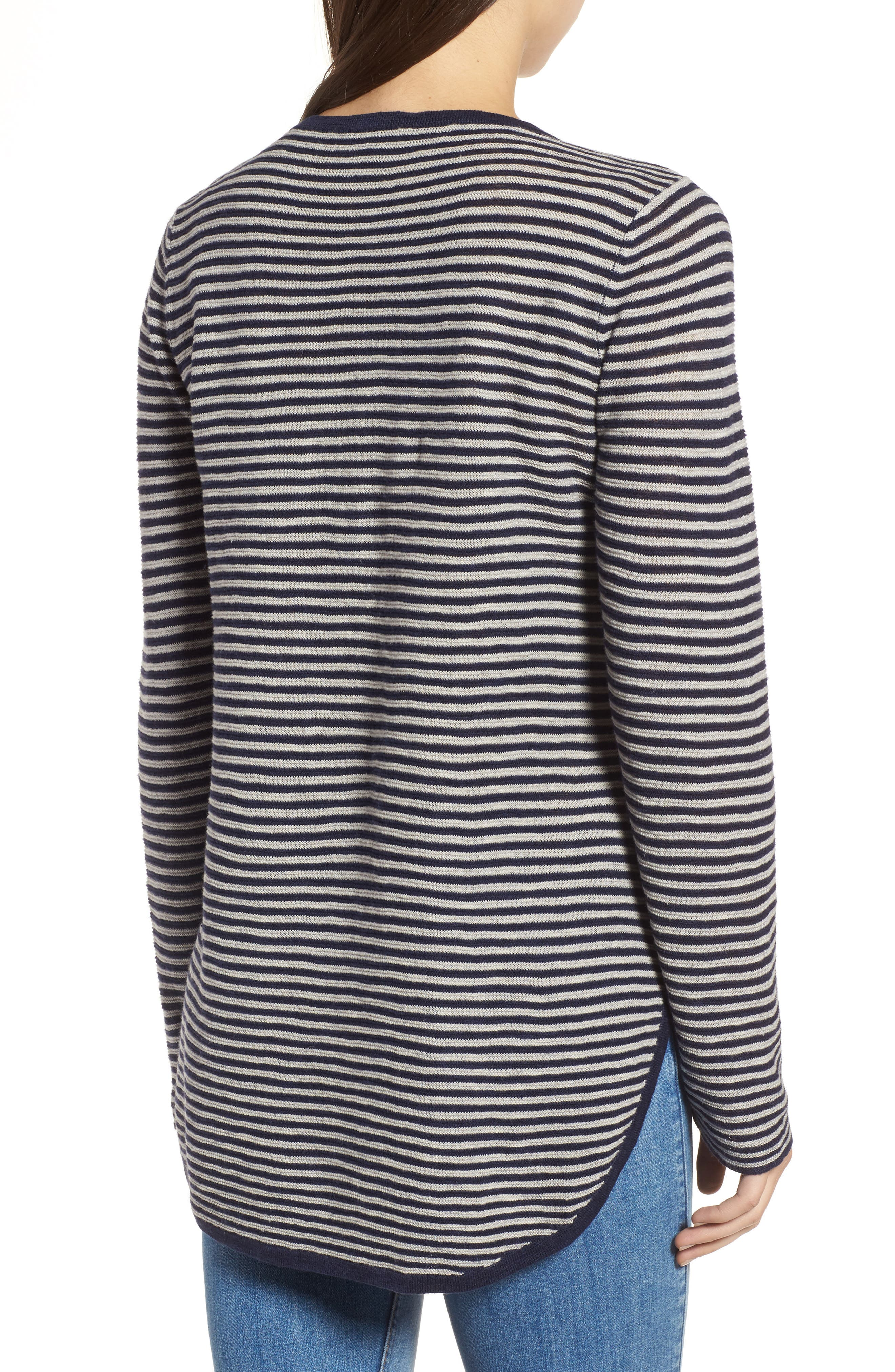 Stripe Organic Linen & Cotton Sweater,                             Alternate thumbnail 2, color,                             Midnight