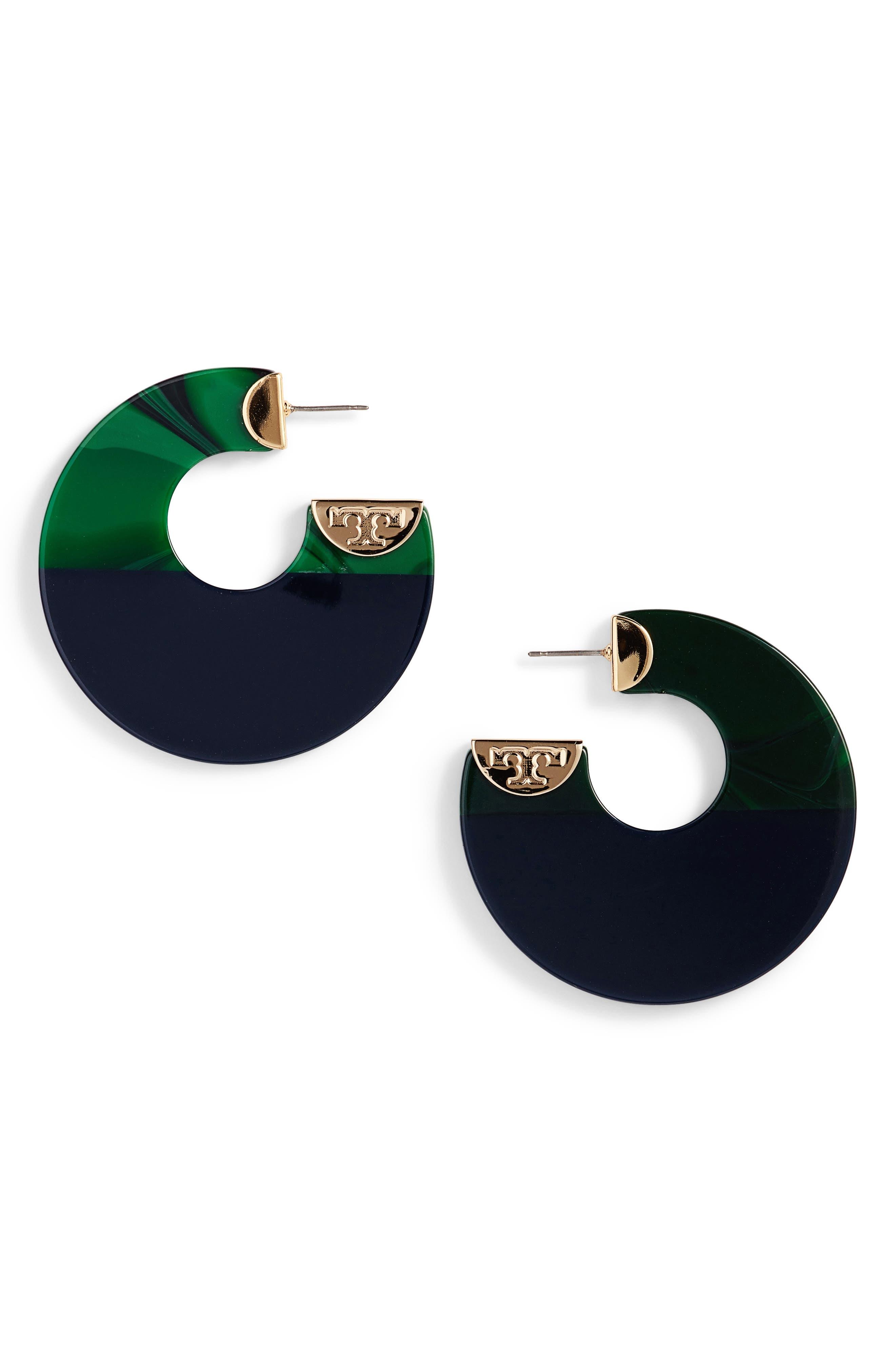 Tory Burch Resin Colorblock Hoop Earrings
