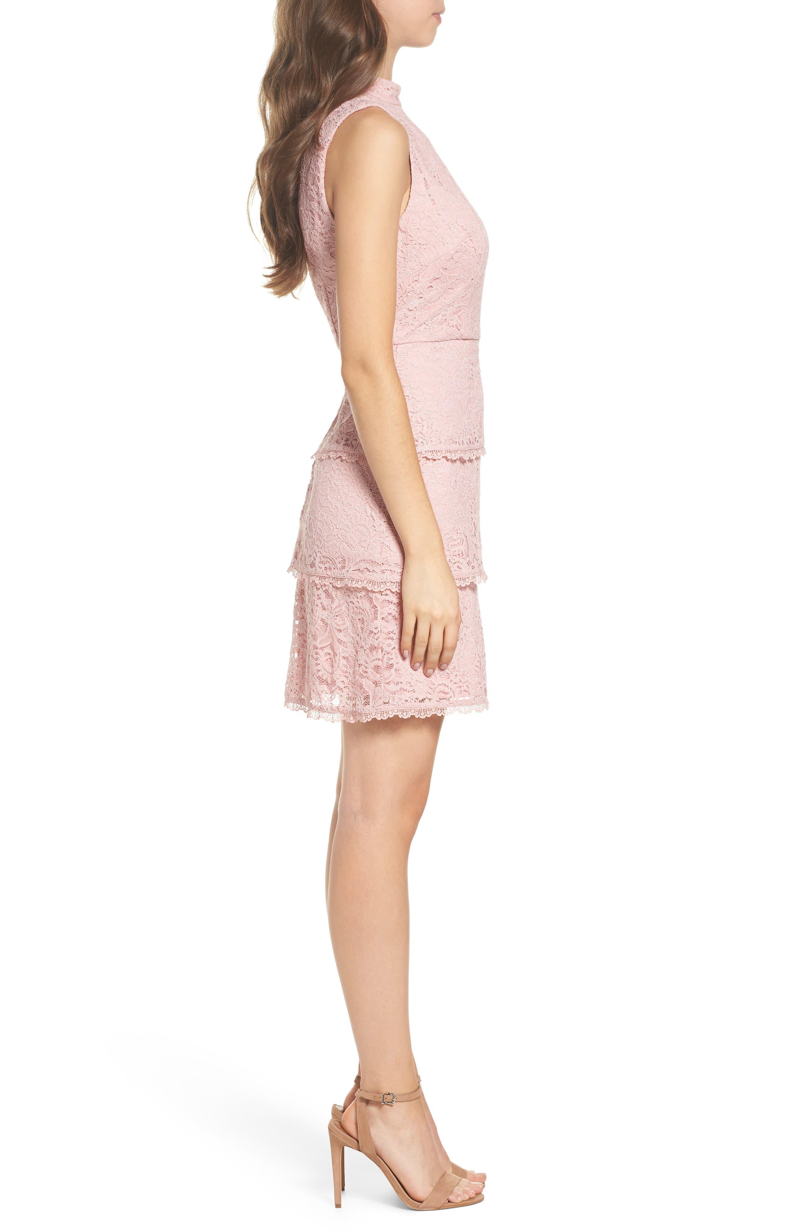 Sophia Tiered Lace Dress,                             Alternate thumbnail 3, color,                             Lilac Mist