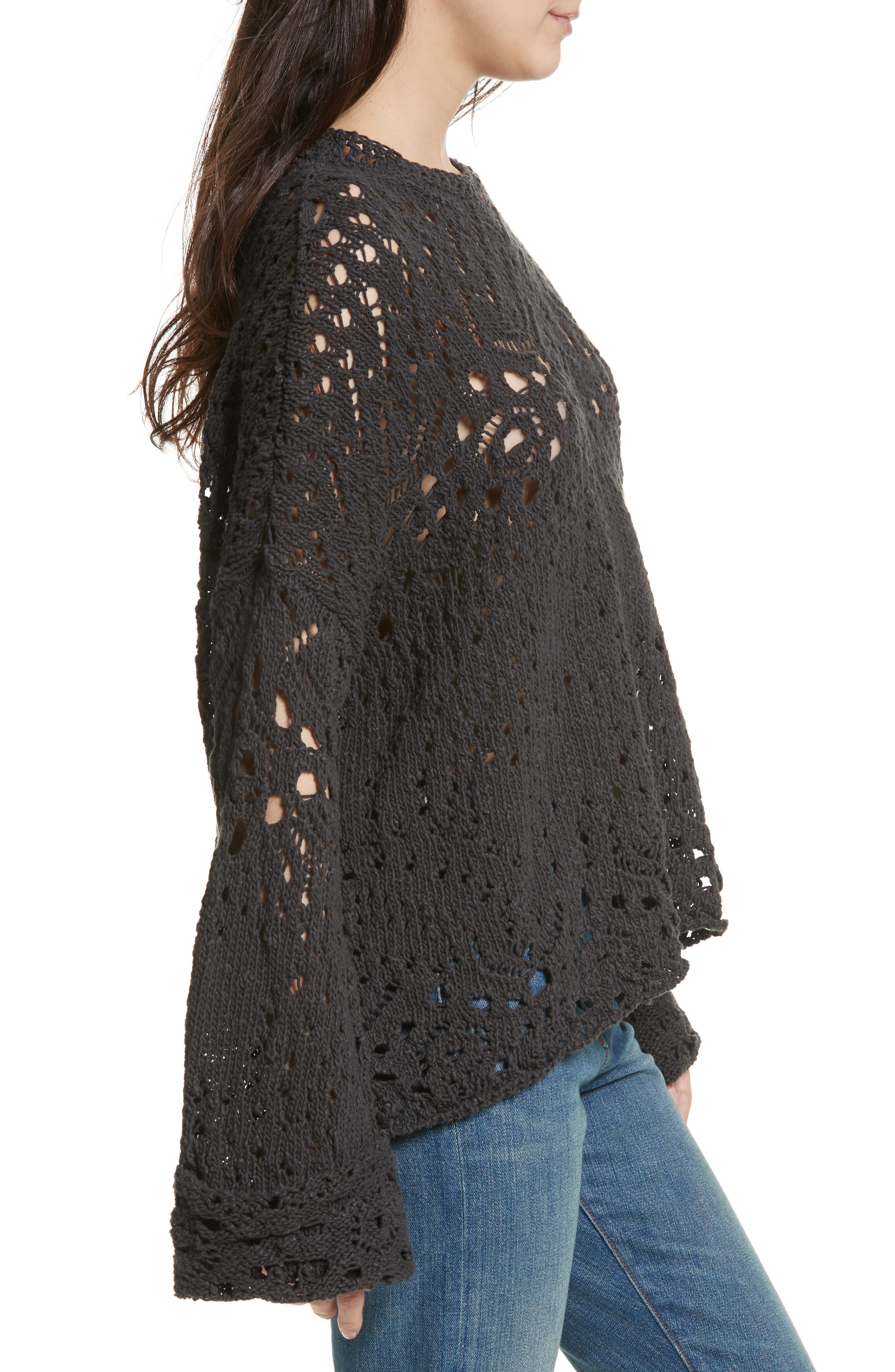 Traveling Lace Sweater,                             Alternate thumbnail 3, color,                             Carbon