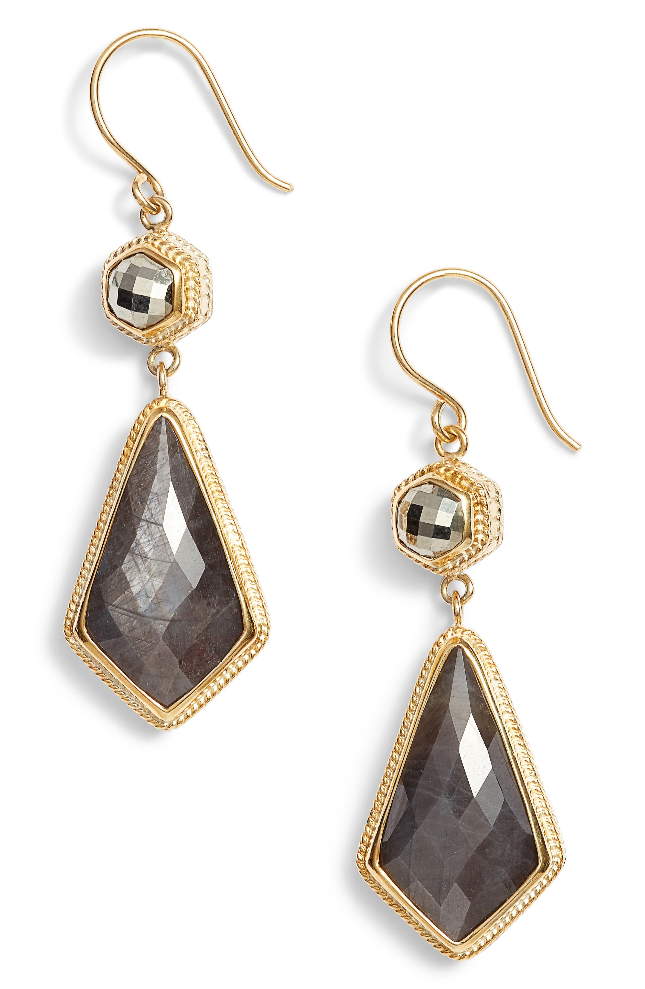 Grey Sapphire & Pyrite Double Drop Earrings,                         Main,                         color, Gold/ Silver/ Grey/ Pyrite
