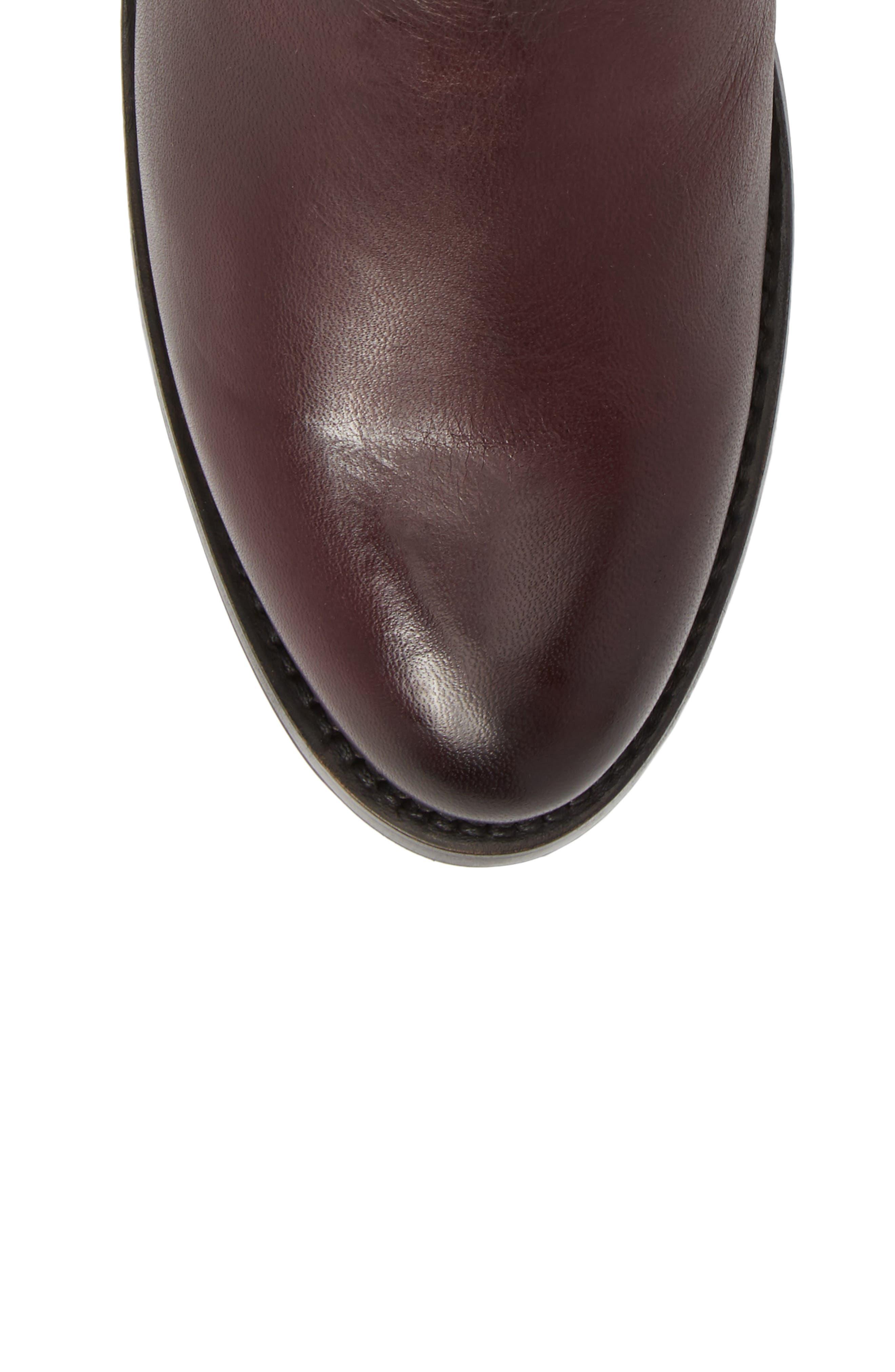 Demi Zip Bootie,                             Alternate thumbnail 5, color,                             Wine Leather