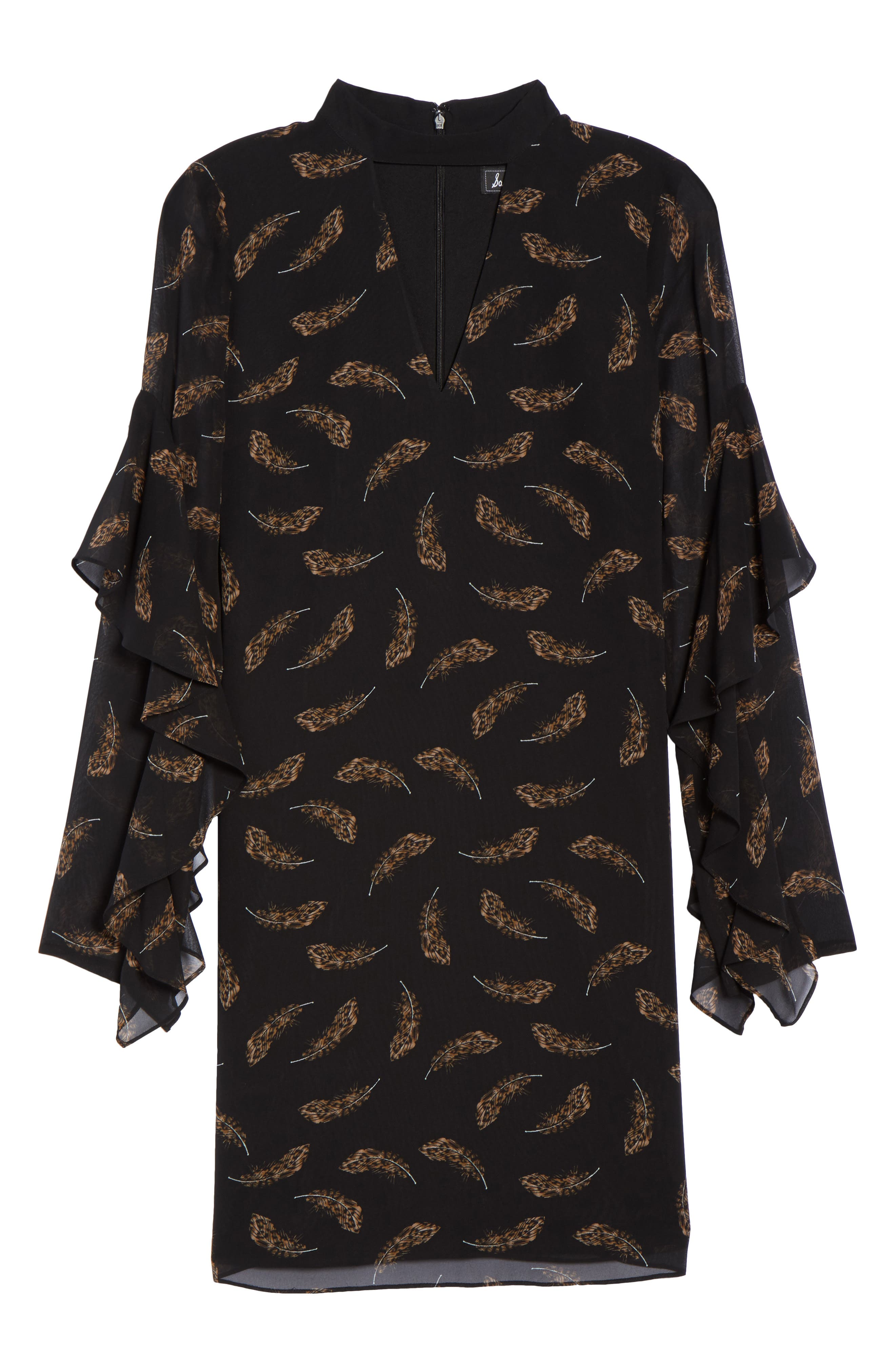 Feather Print Choker Collar Dress,                             Alternate thumbnail 6, color,                             Leopard Feather