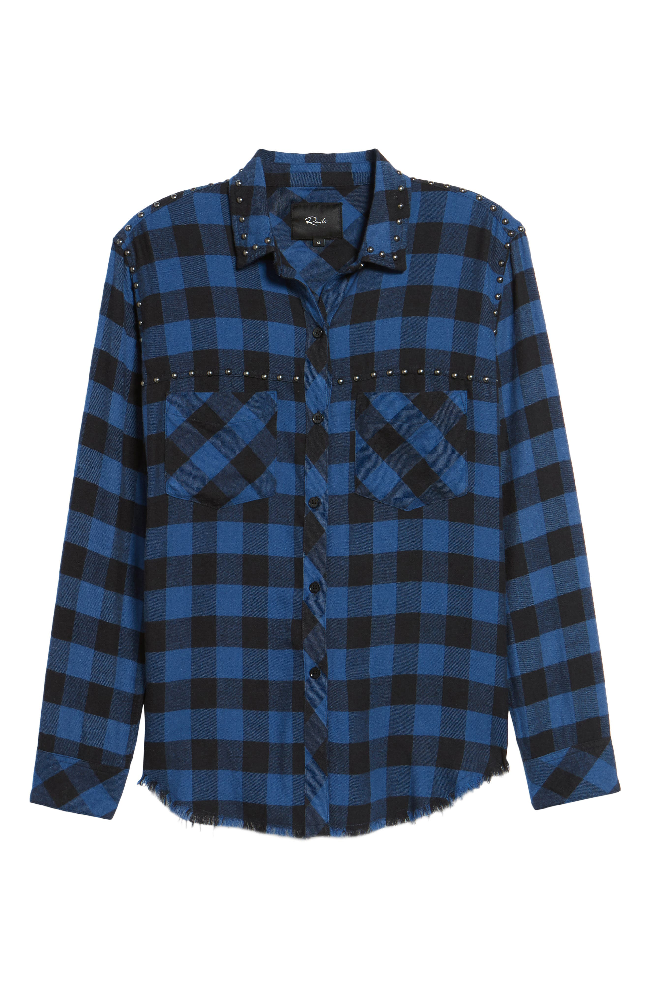 Rex Studded Flannel Shirt,                             Alternate thumbnail 7, color,                             Blue/ Black Check
