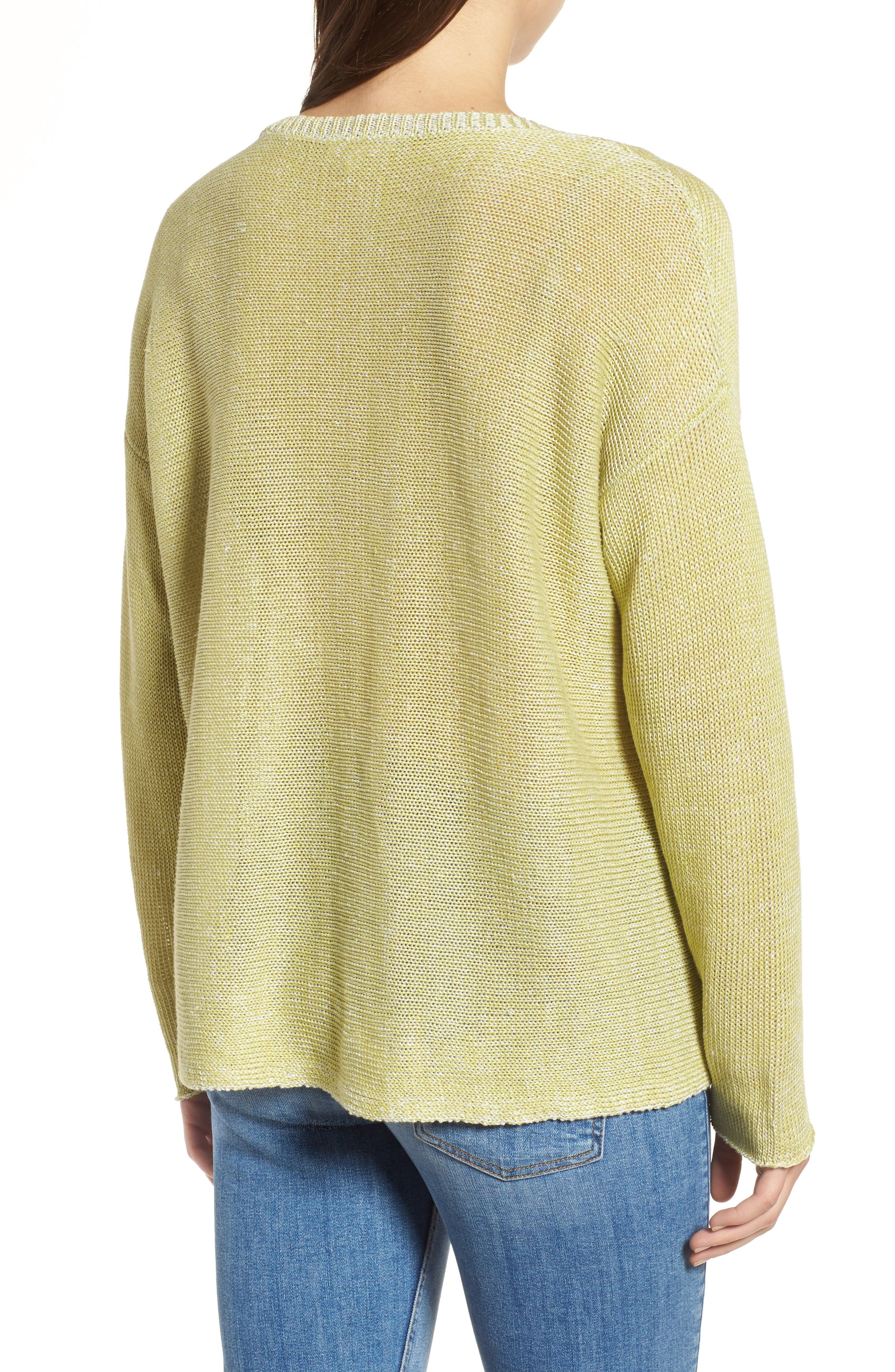 Boxy Organic Linen Sweater,                             Alternate thumbnail 2, color,                             Verbena