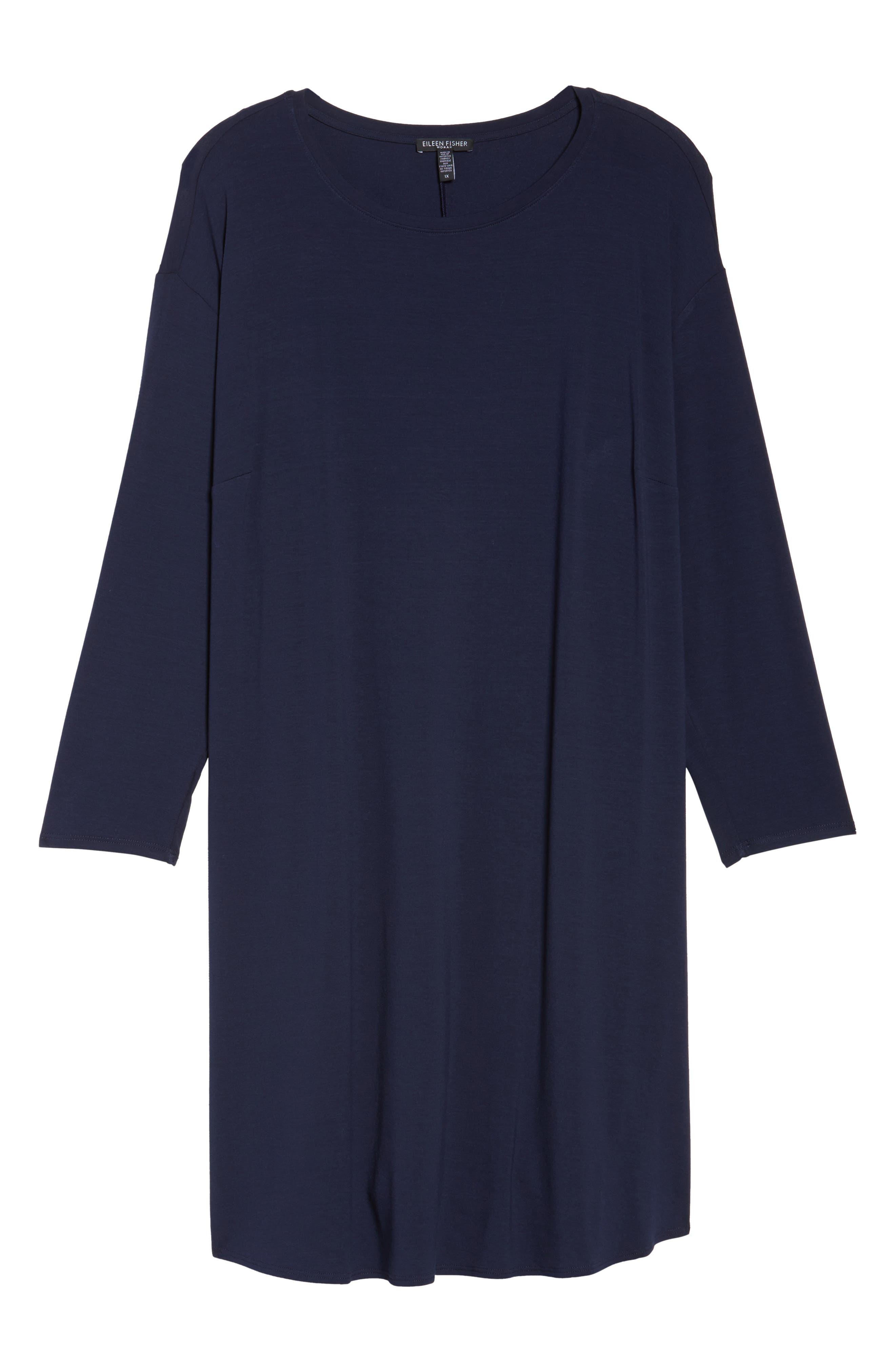 Jersey Shift Dress,                             Alternate thumbnail 5, color,                             Midnight