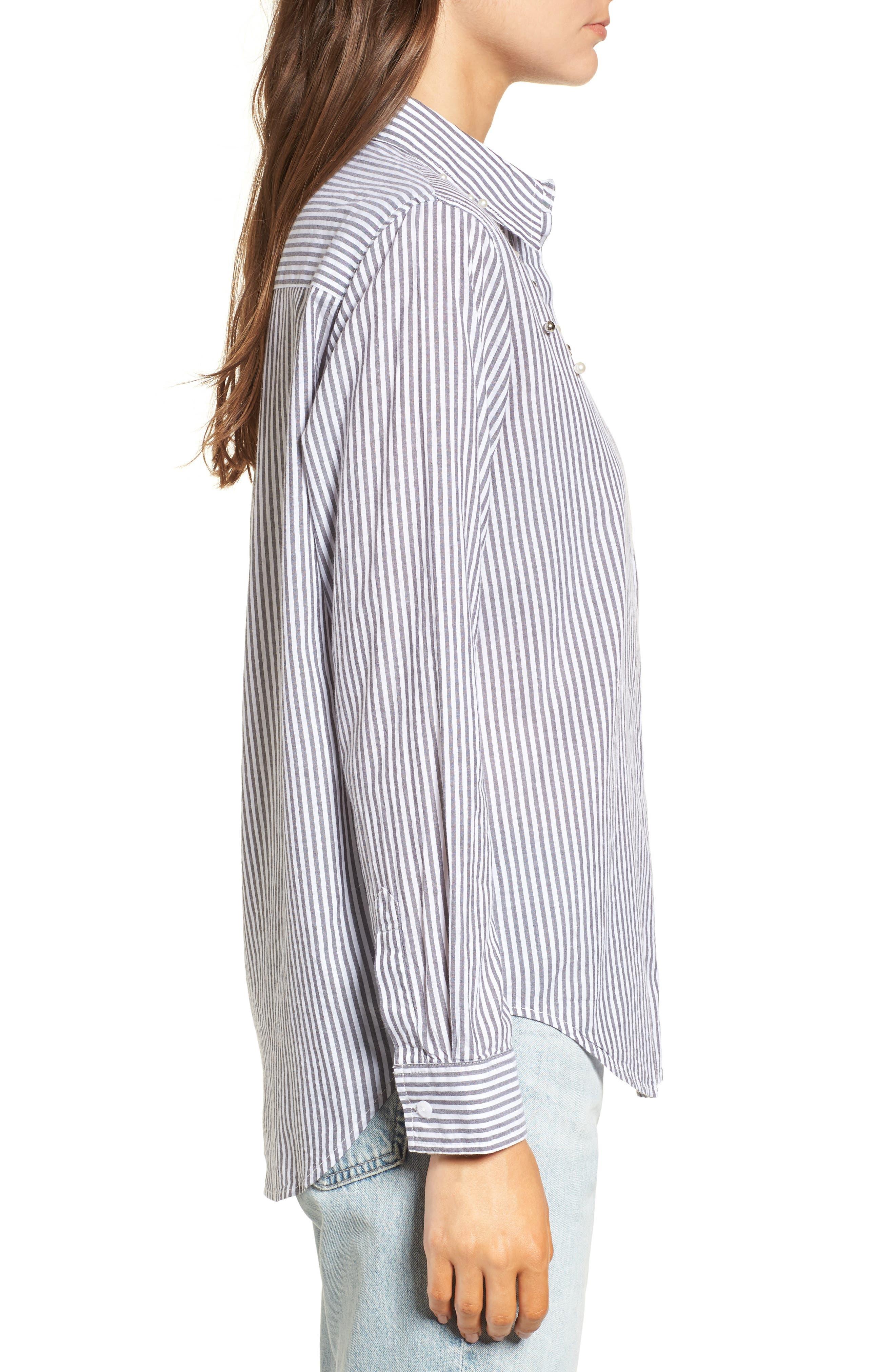 Taylor Embellished Shirt,                             Alternate thumbnail 3, color,                             Florence Stripe Studded Pearls