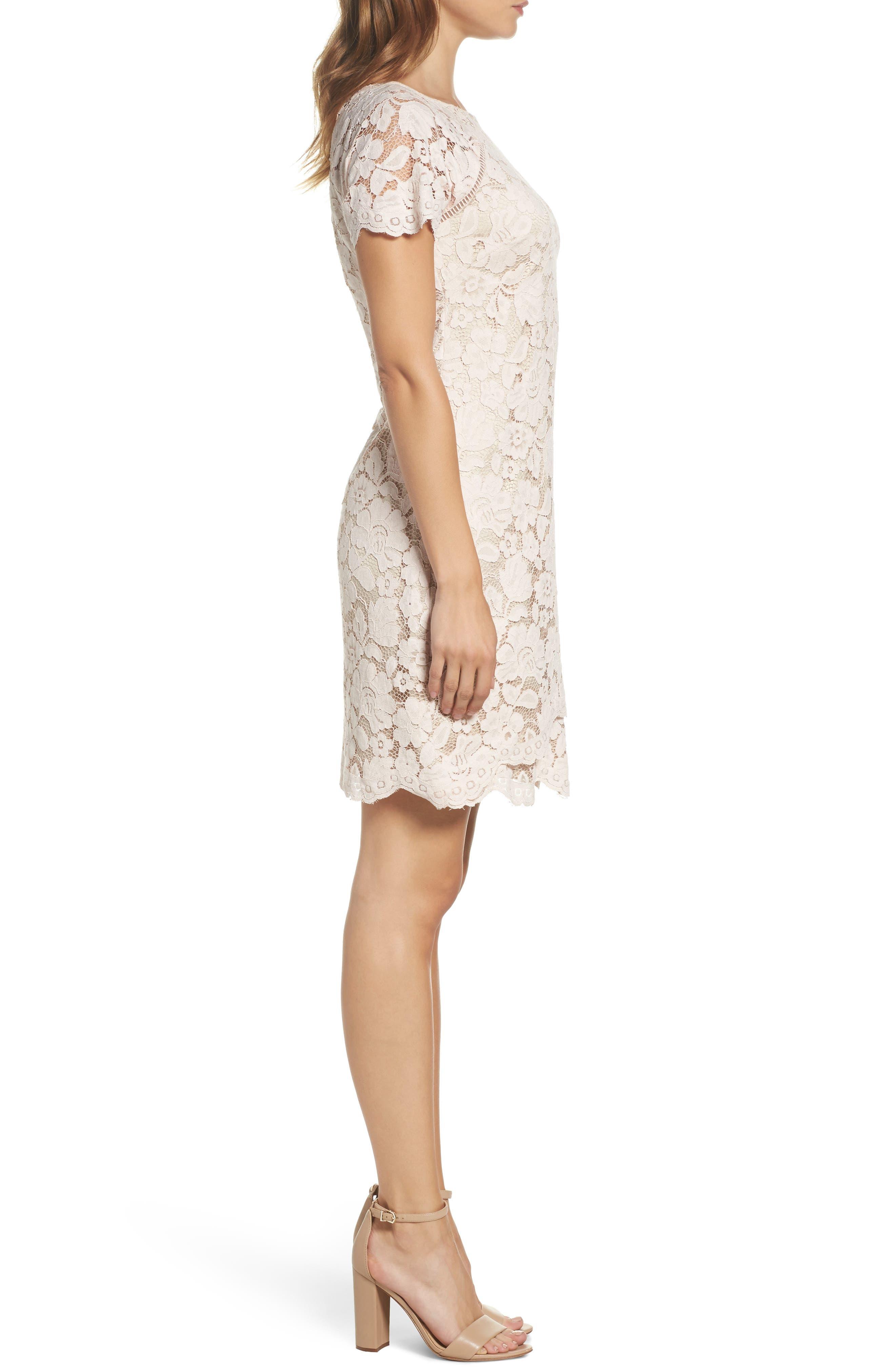 Lace Shift Dress,                             Alternate thumbnail 3, color,                             Blush