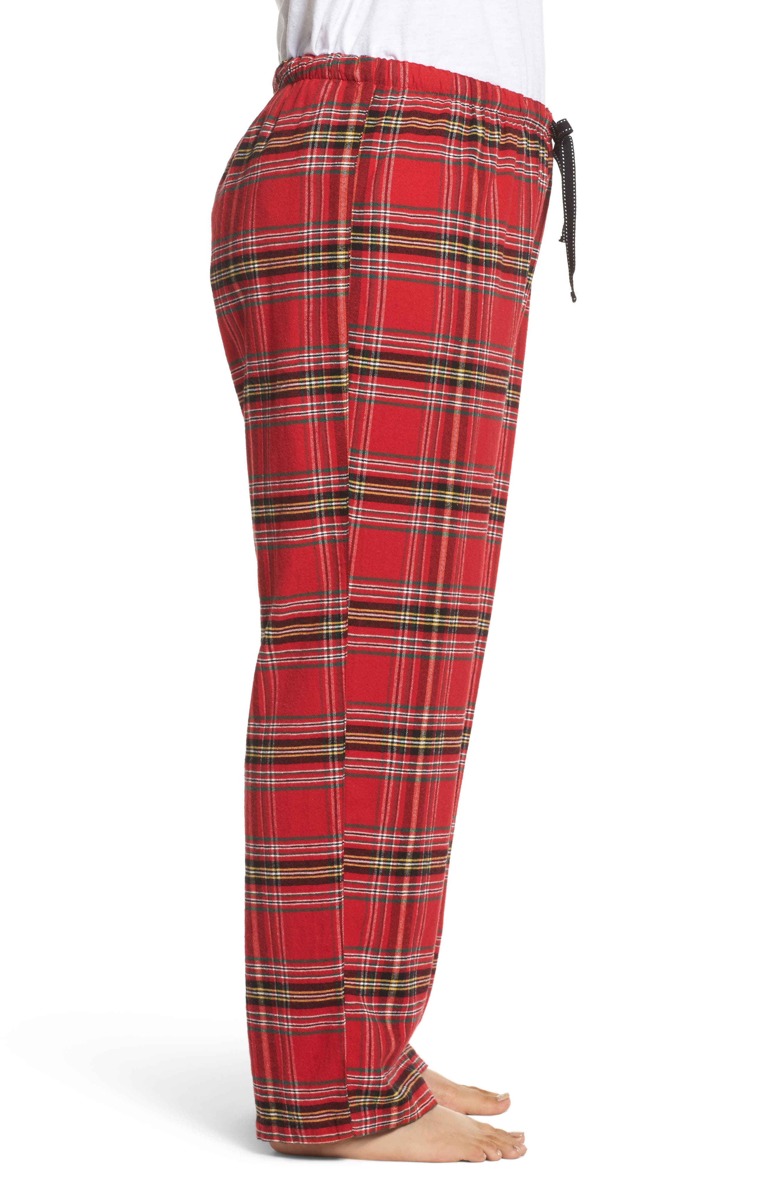Plaid Flannel Pajama Pants,                             Alternate thumbnail 3, color,                             Brick