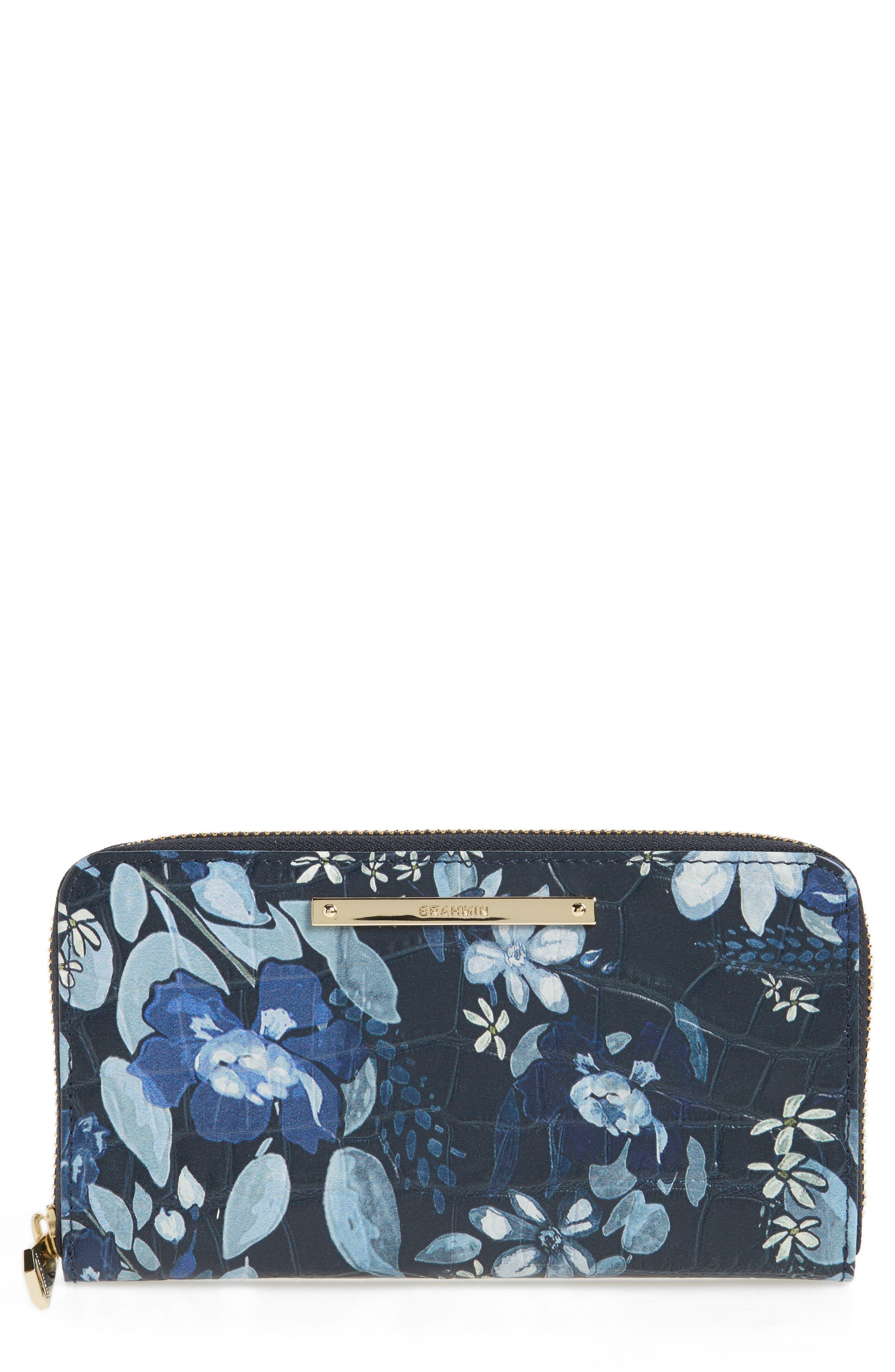 Suri Leather Zip Around Wallet,                         Main,                         color, Navy