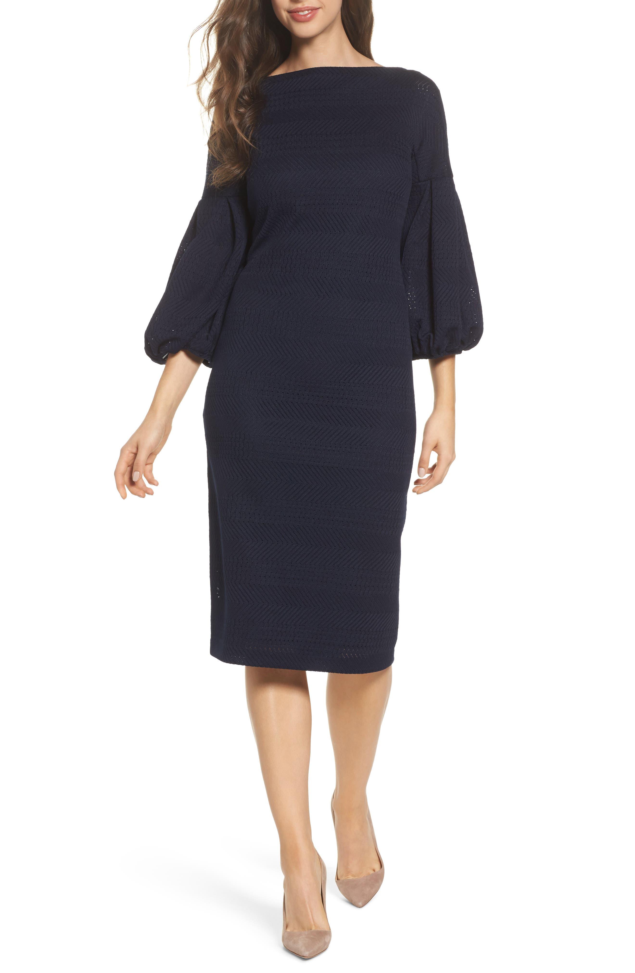 Solid Herringbone Knit Dress,                             Main thumbnail 1, color,                             Navy