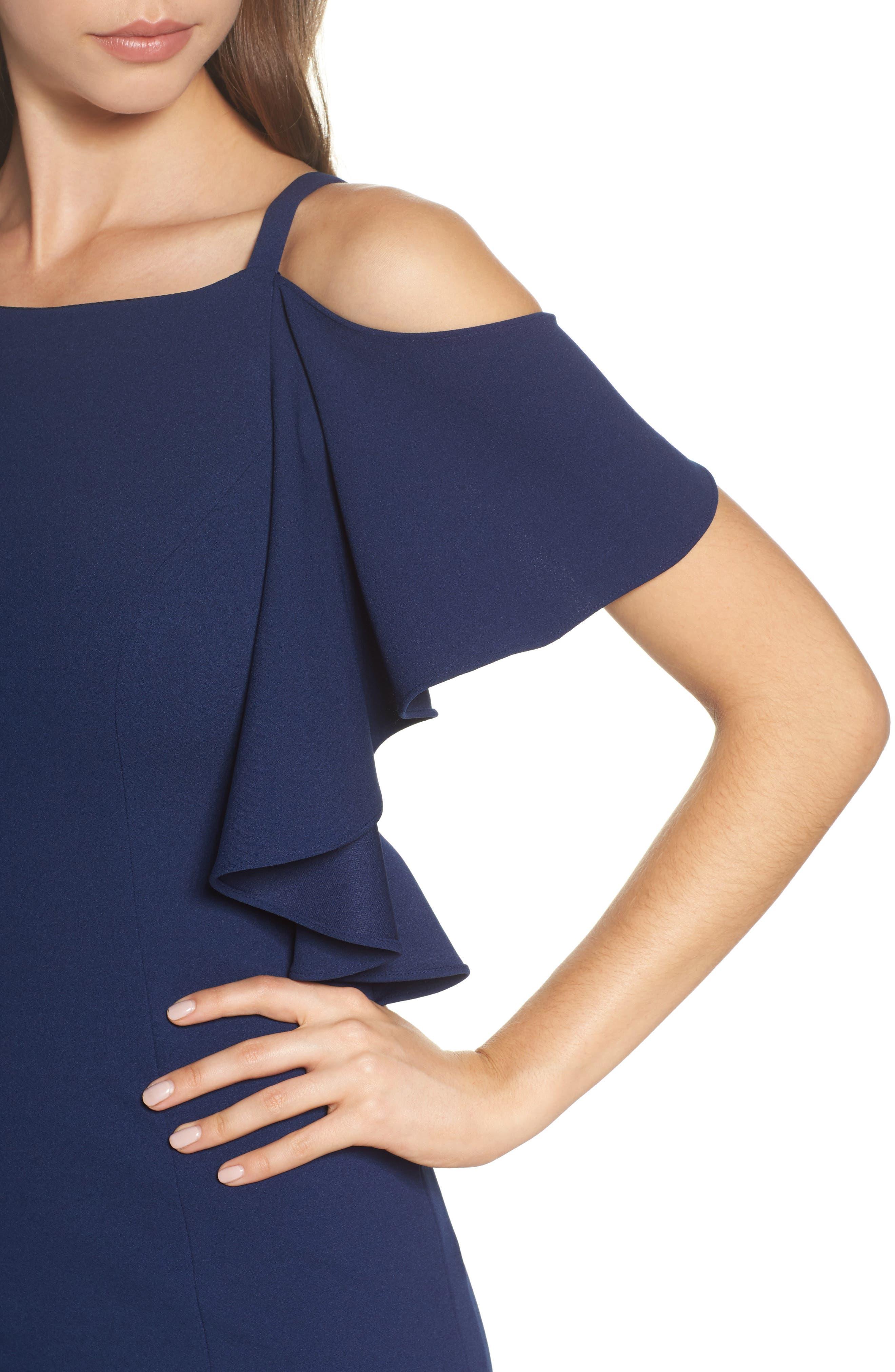 Cold Shoulder Sheath Dress,                             Alternate thumbnail 4, color,                             Navy Sateen