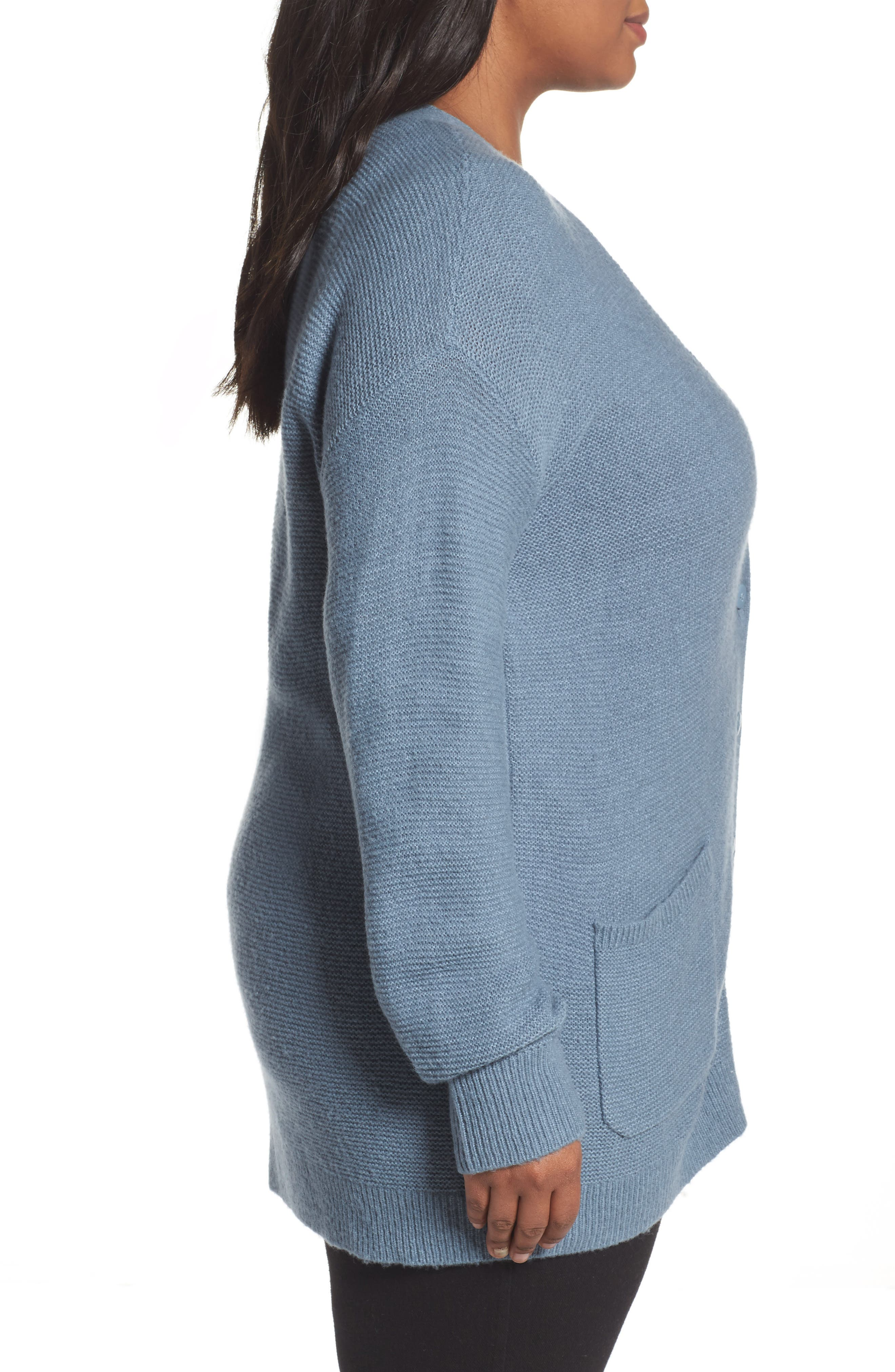 Alternate Image 3  - Caslon® Long V-Neck Wool Blend Cardigan (Plus Size)