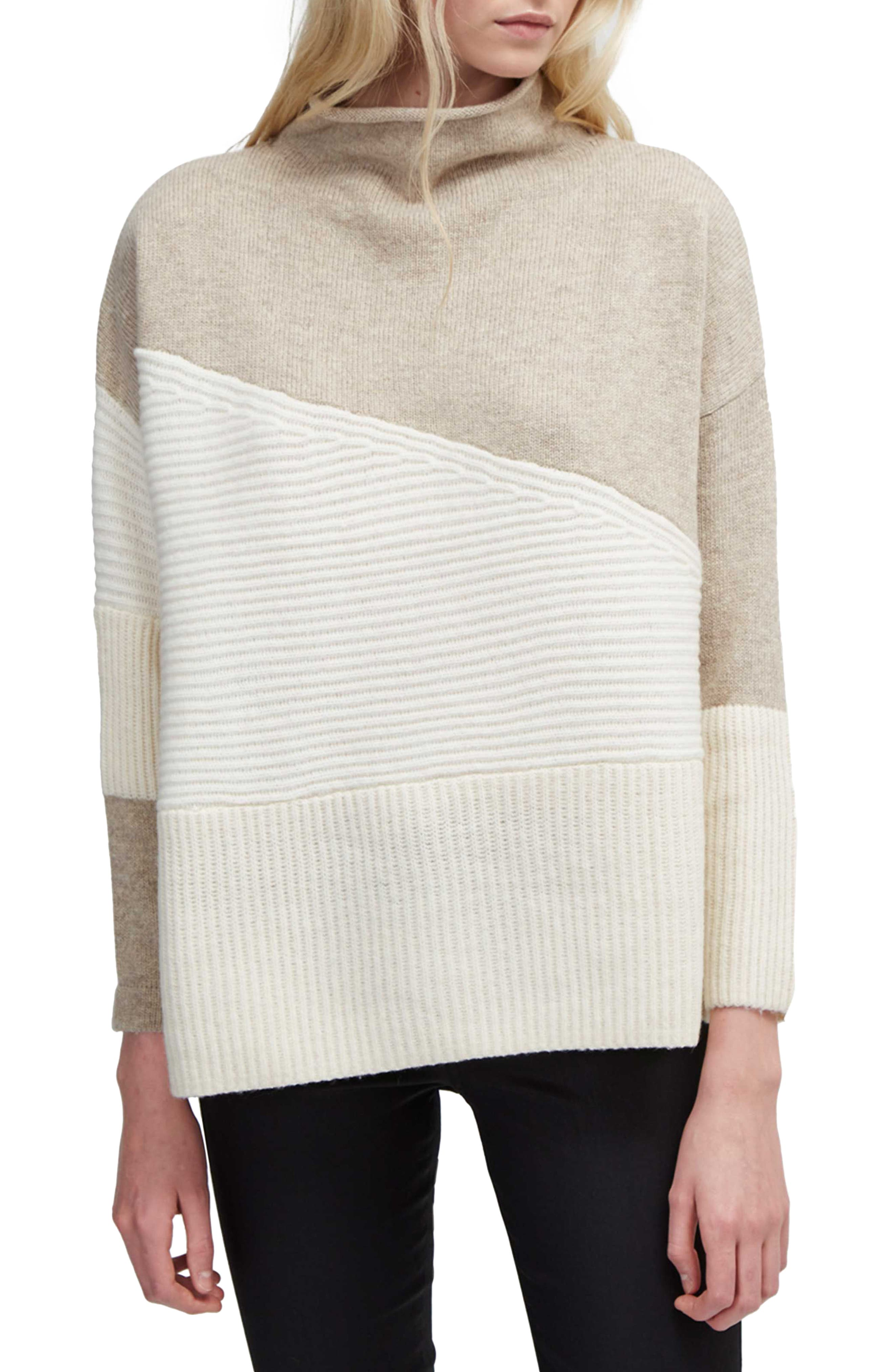 Main Image - French Connection Patchwork Mock Neck Sweater