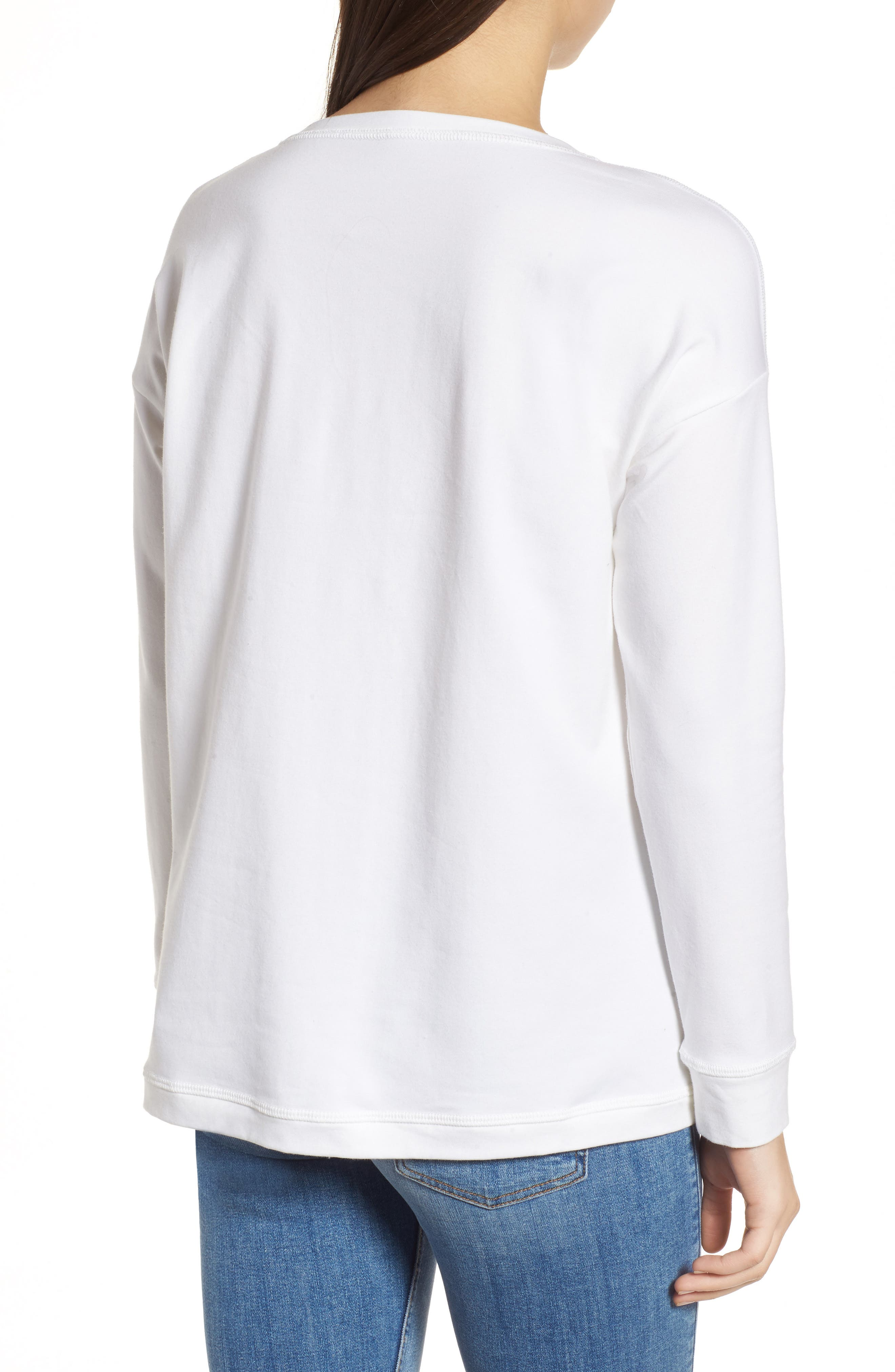 Jewel Neck Organic Stretch Cotton Tee,                             Alternate thumbnail 2, color,                             White