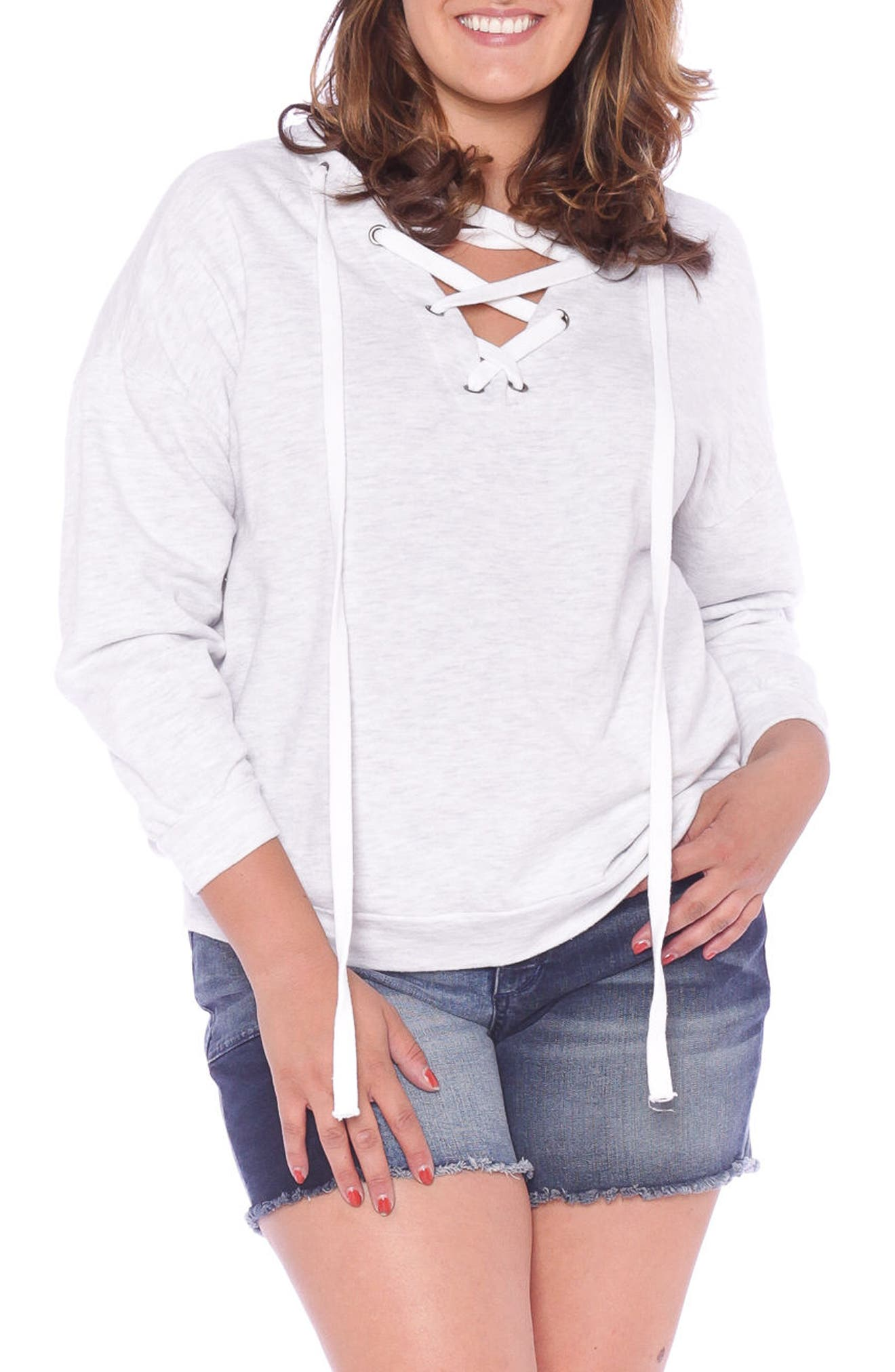 Lace-Up Hoodie,                         Main,                         color, Heather Grey