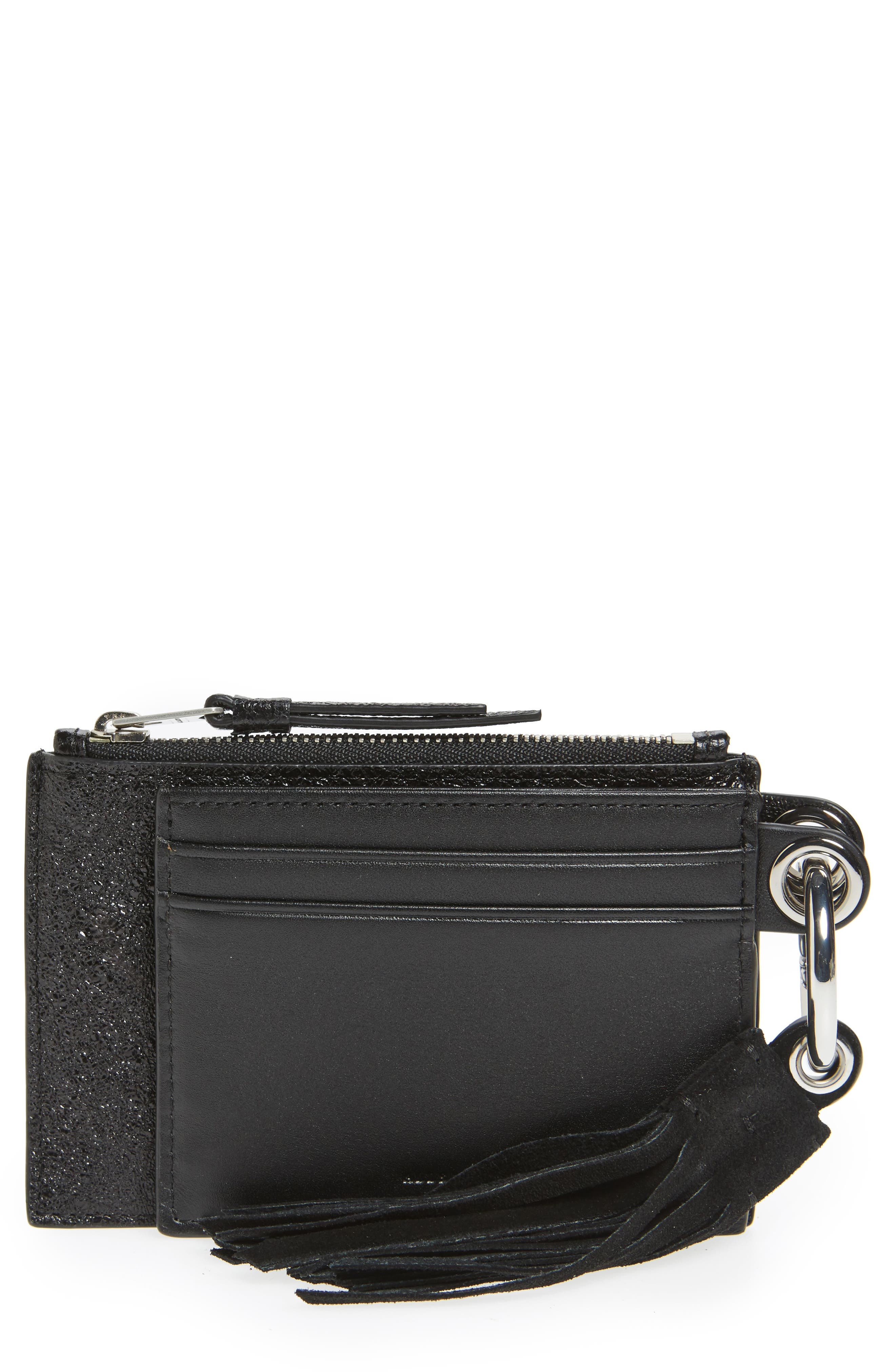 Dive Key Fob Leather Zip Pouch & Card Case,                         Main,                         color, Black